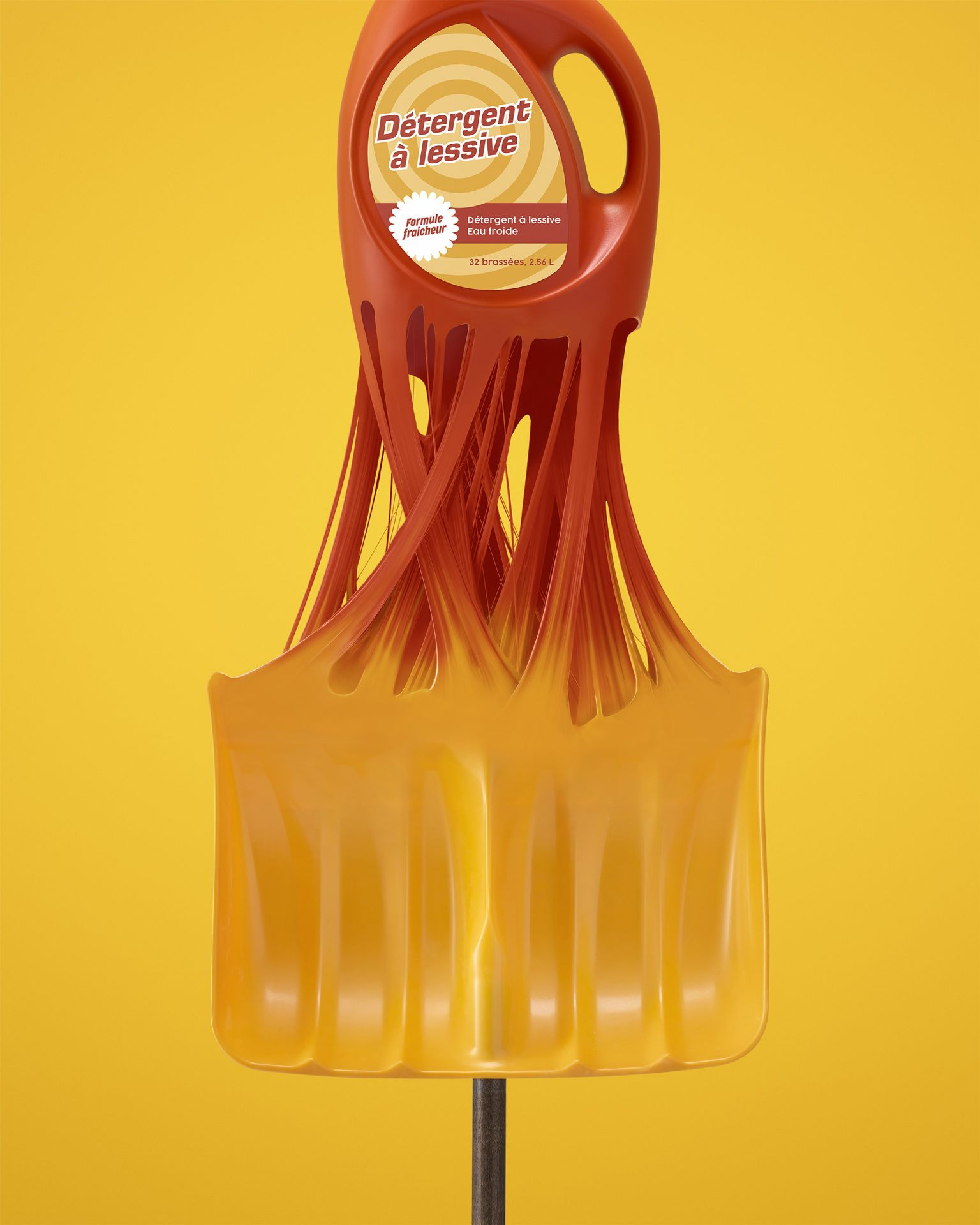 bottle of detergent transforming into snow shovel on yellow background by Mathieu Levesque