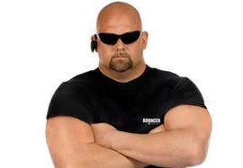 scary bouncer on white background