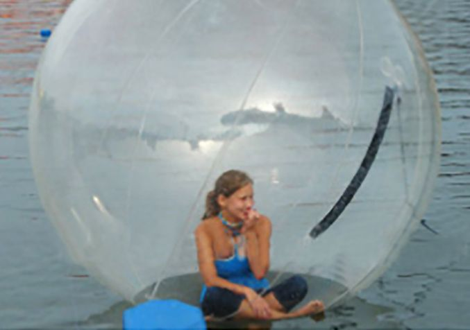woman in plastic bubble
