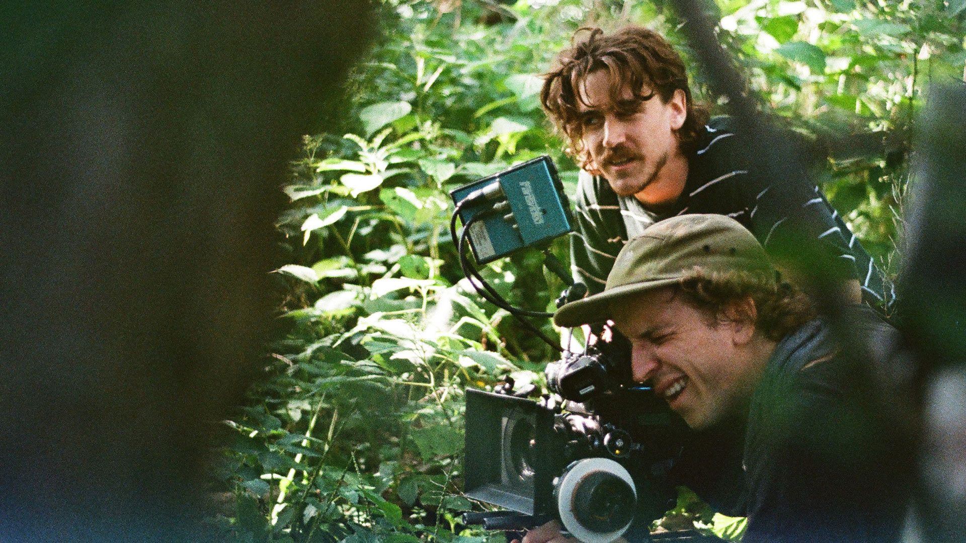 Vincent Ruel-Cote and Marco Gilbert from Les Gamins filming with camera in the jungle