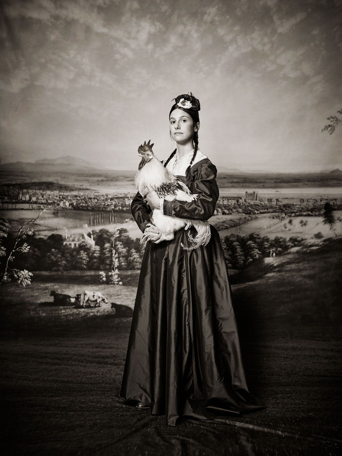 fake old picture of girl holding rooster for SPCA 150th anniversary by Jocelyn Michel