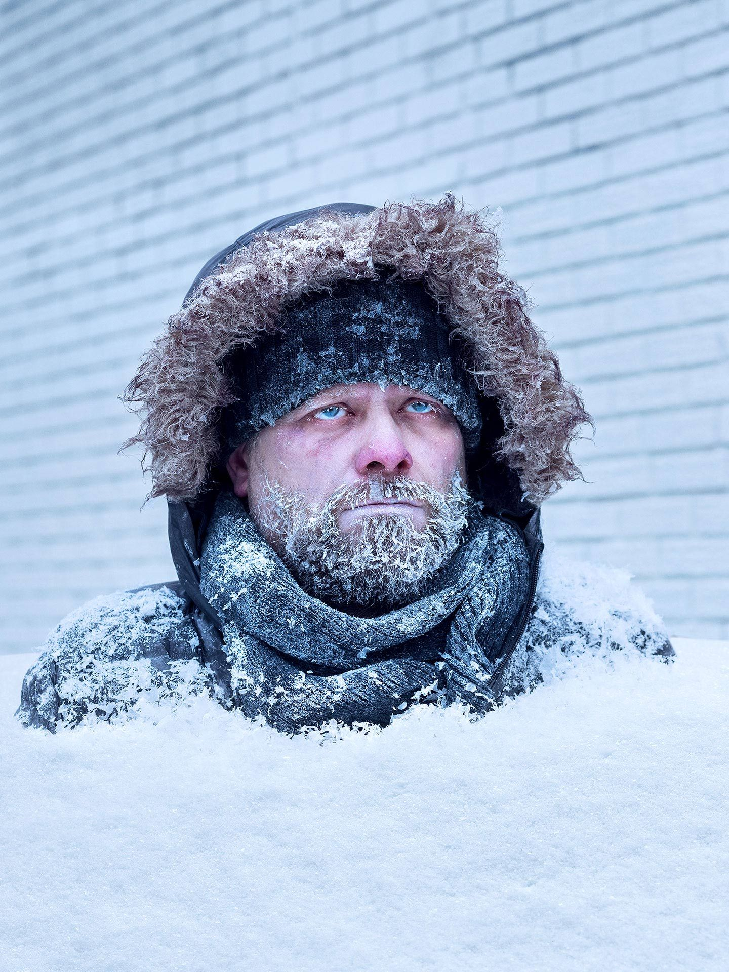 man frozen in snow by Jocelyn Michel for Transit