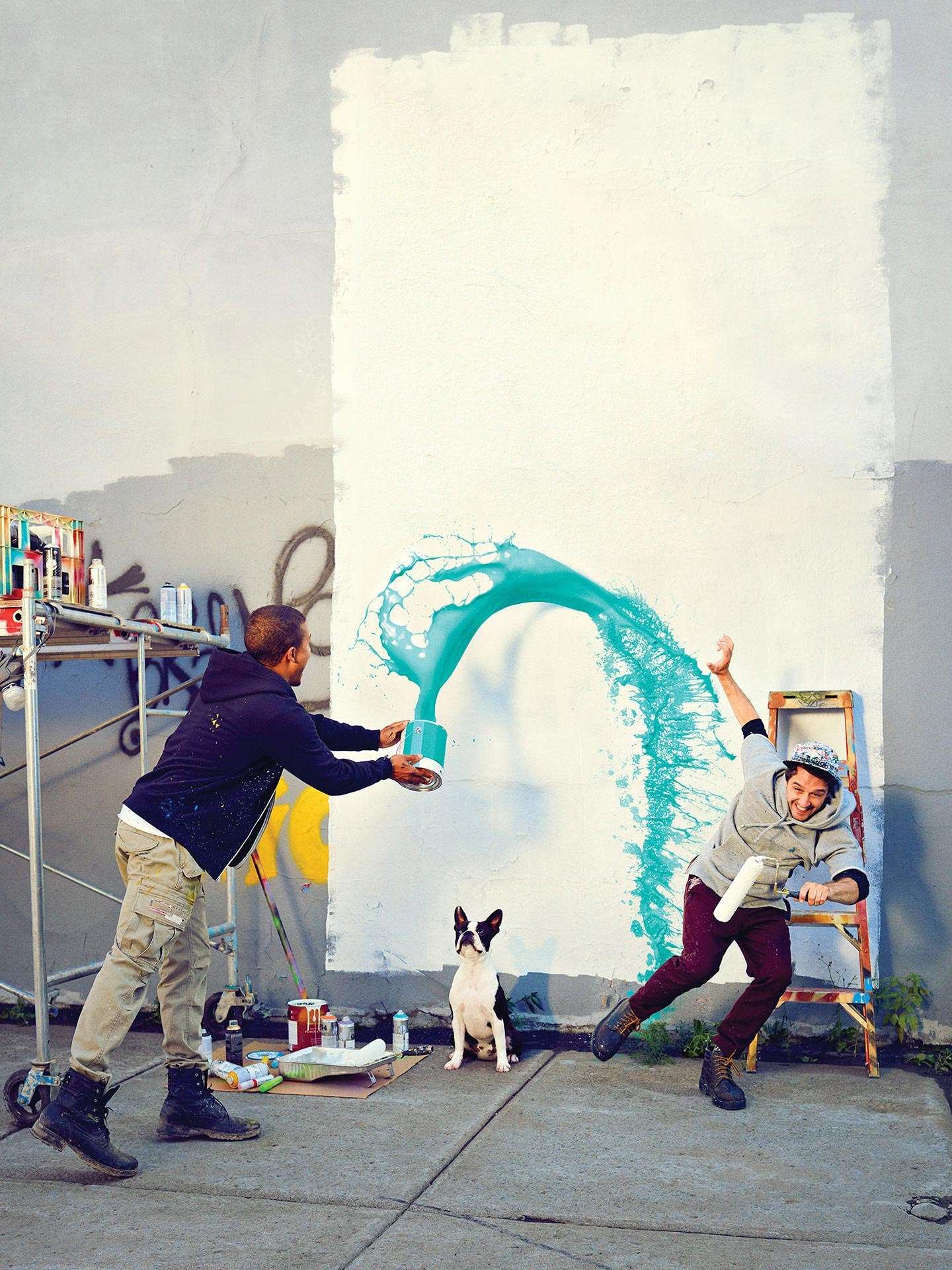 boys playing with paint for Fido campaign by Jocelyn Michel with Dentsubos