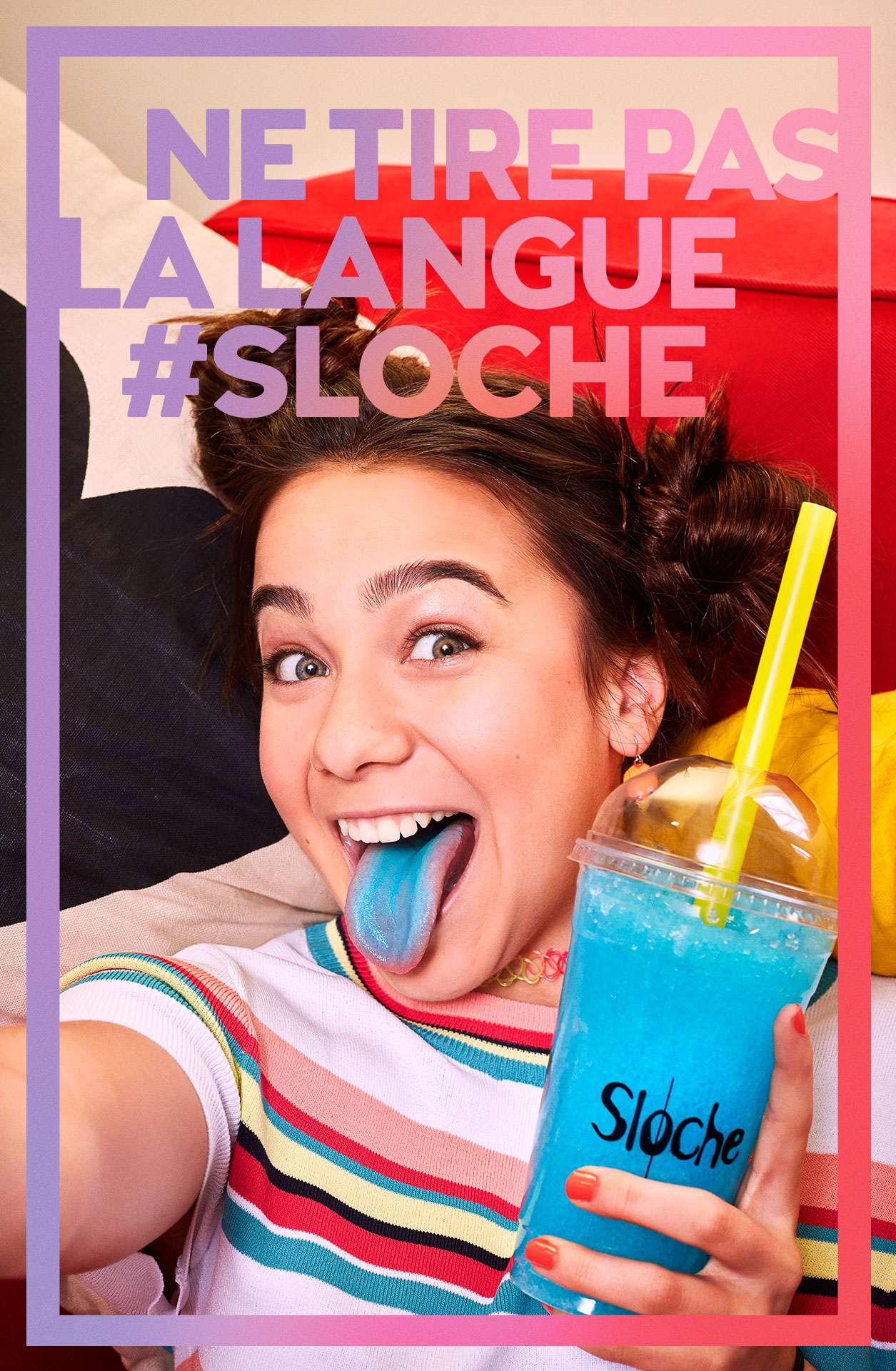 young teenage girl taking selfie holding blue slurpee sticking her blue-stained tongue out by Jocelyn Michel for Sloche Couche Tard with Havas