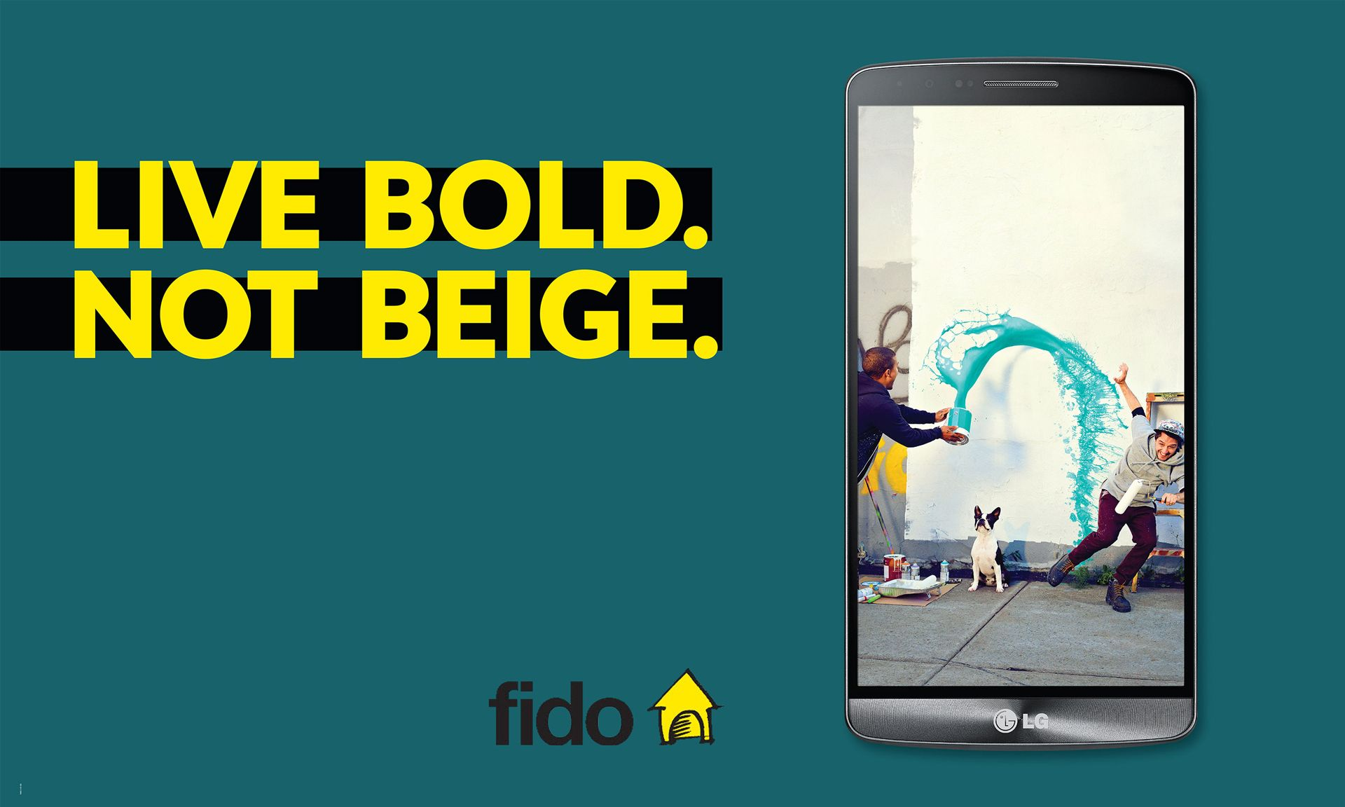 boys playing with paint in blue poster for Fido campaign by Jocelyn Michel with Dentsubos