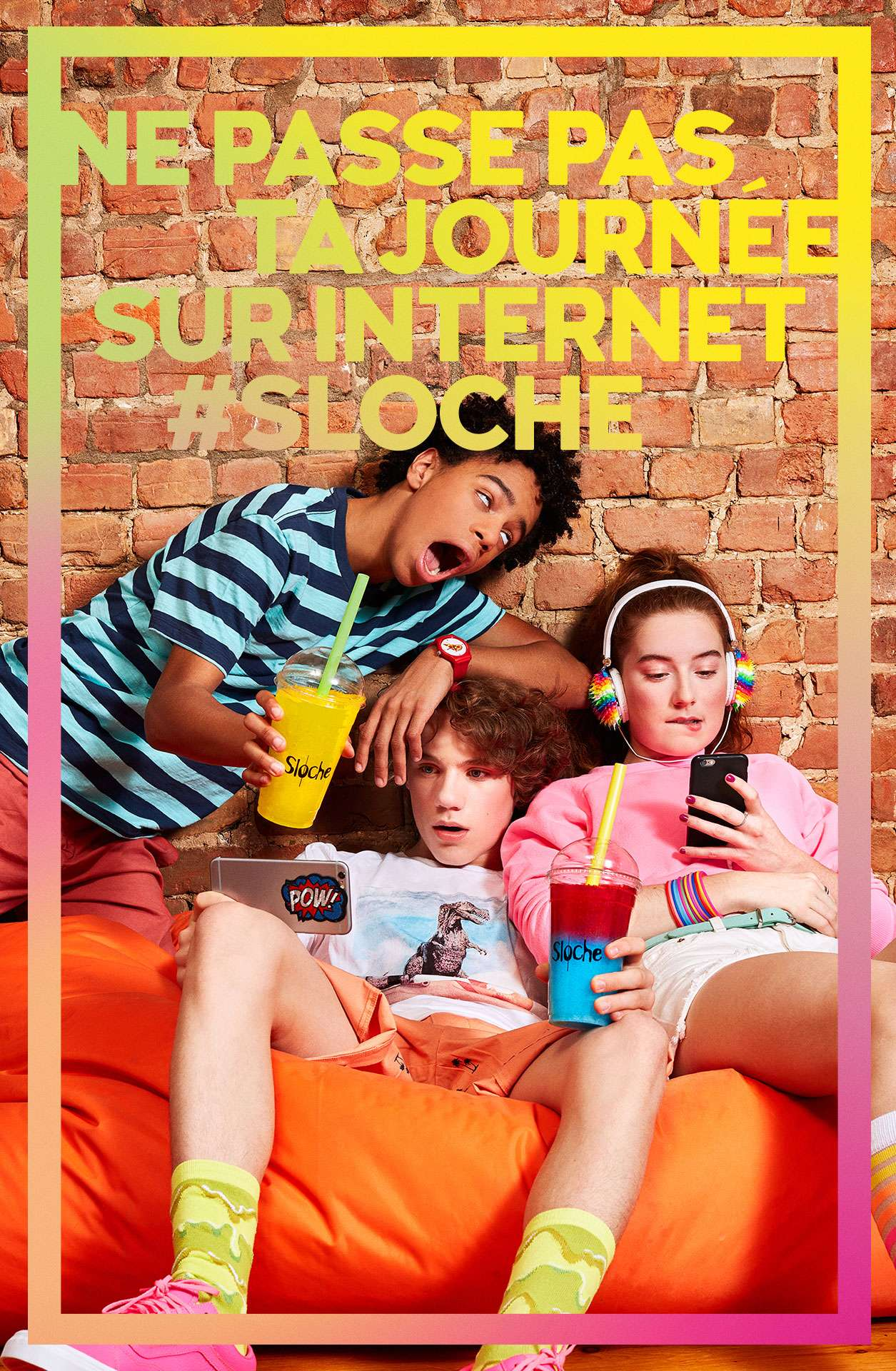 three teenagers on orange bean bag watching things on smartphones holding slurpees by Jocelyn Michel for Sloche Couche Tard with Havas