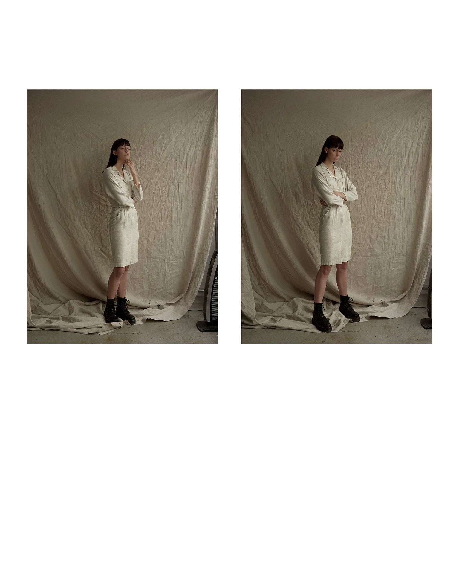 diptych of woman model wearing white over the knee dress with long sleeves by Maxyme G Delisle for Mariane