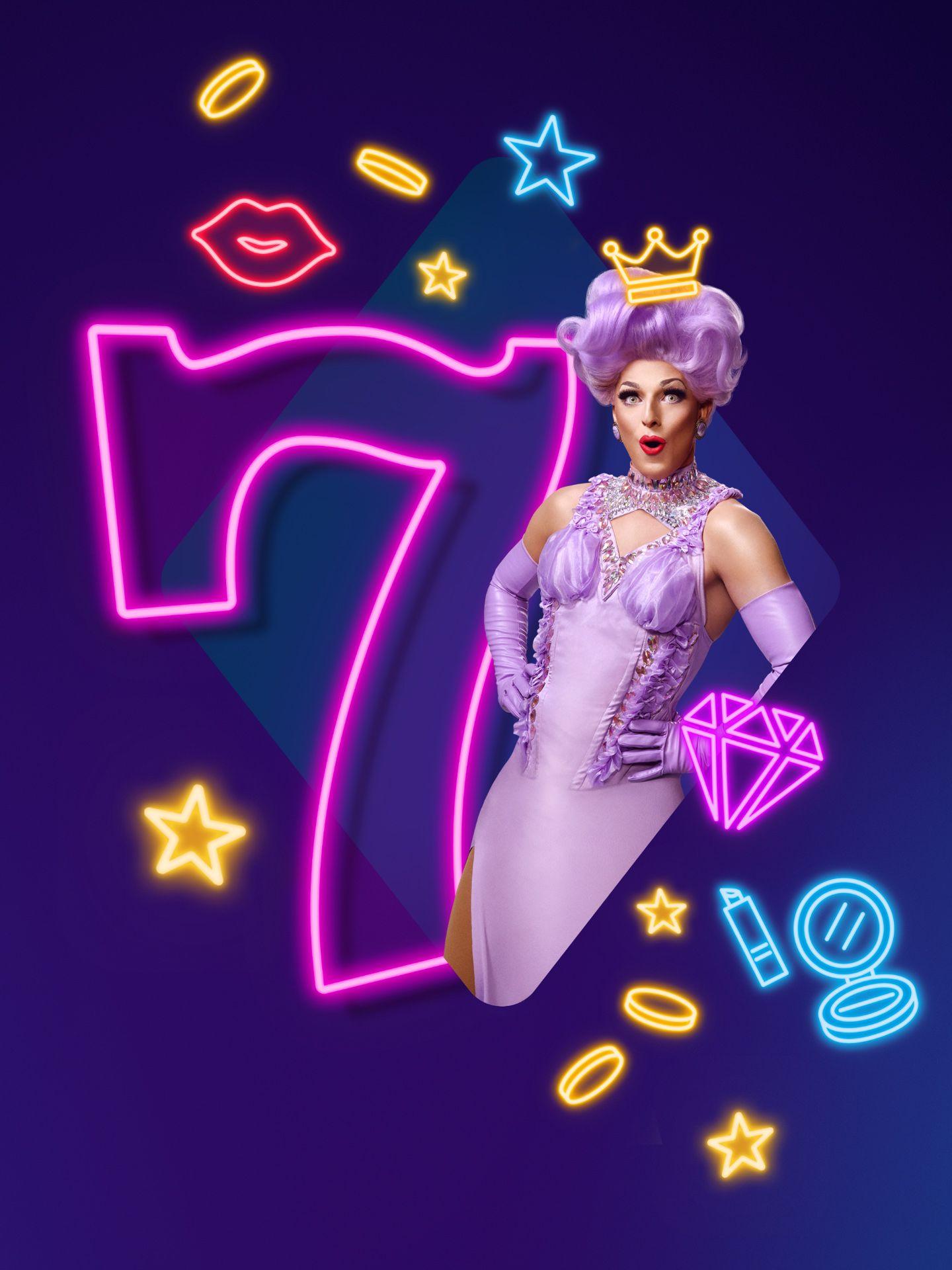 Dragqueen Gysele posing in a purple dress for photographer Jocelyn Michel