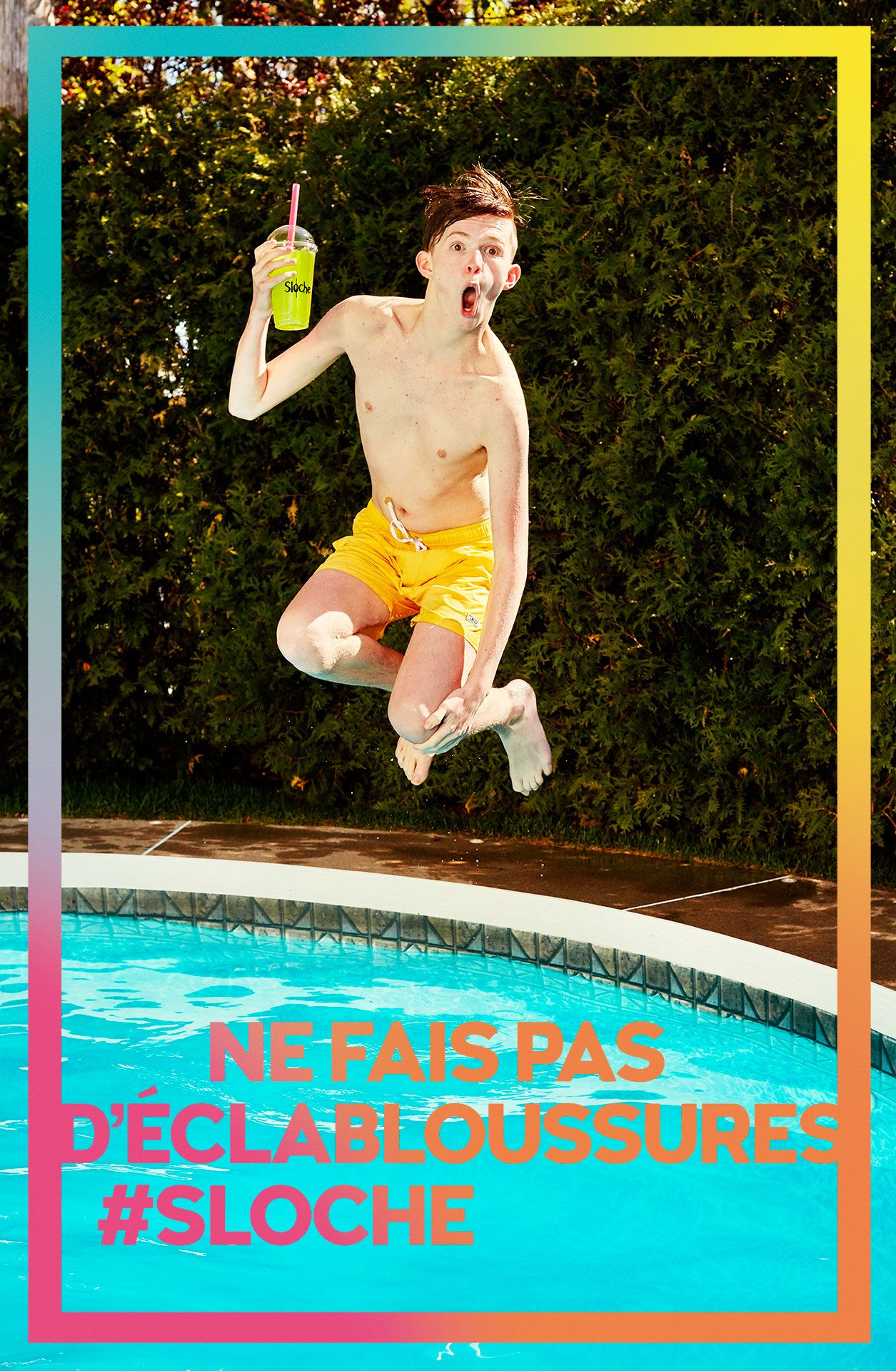 teenage boy in the air jumping in a pool looking at camera holding yellow slurpee by Jocelyn Michel for Sloche Couche Tard with Havas