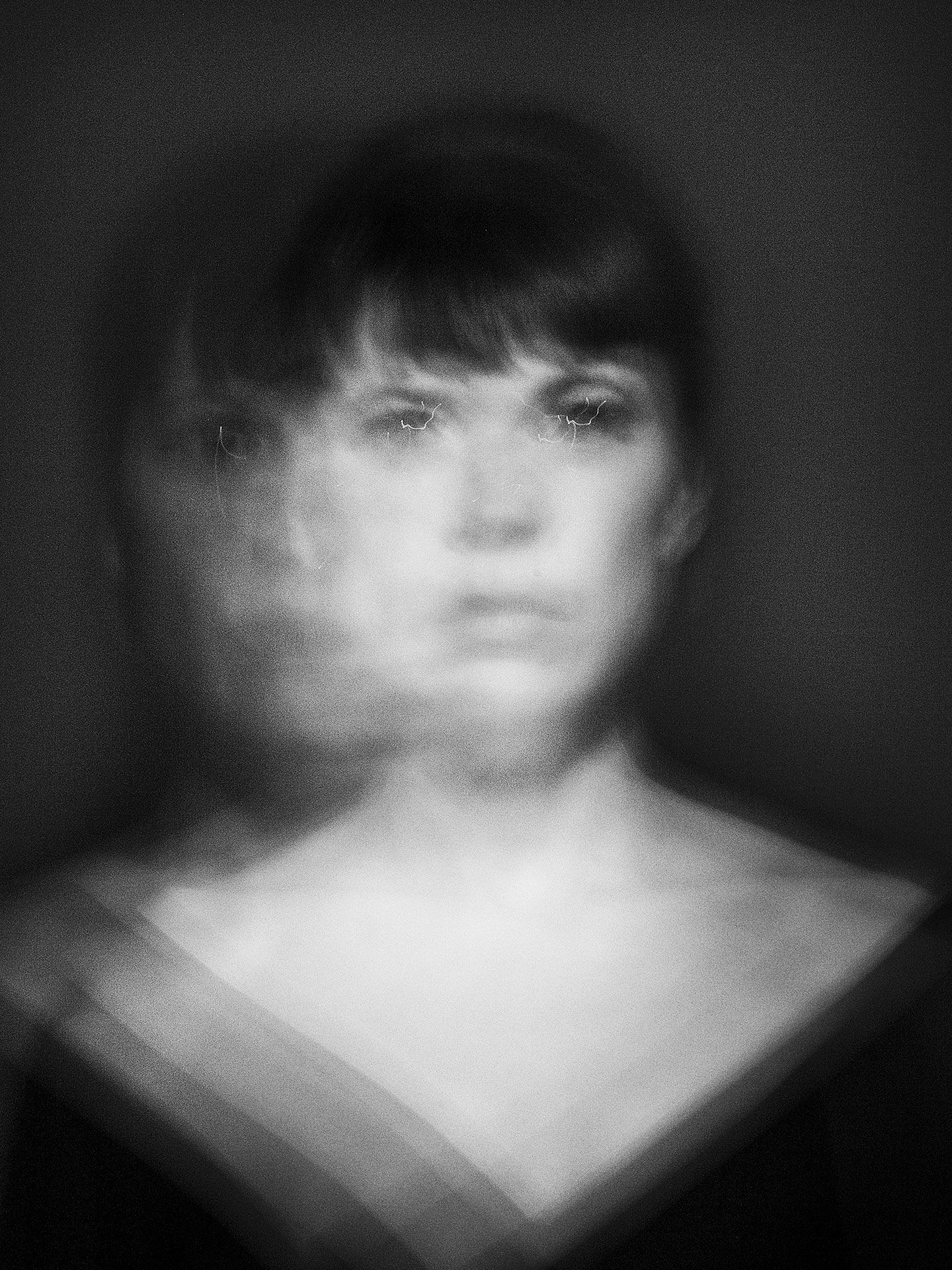 Blurred black and white portrait of actress Anne Dorval.