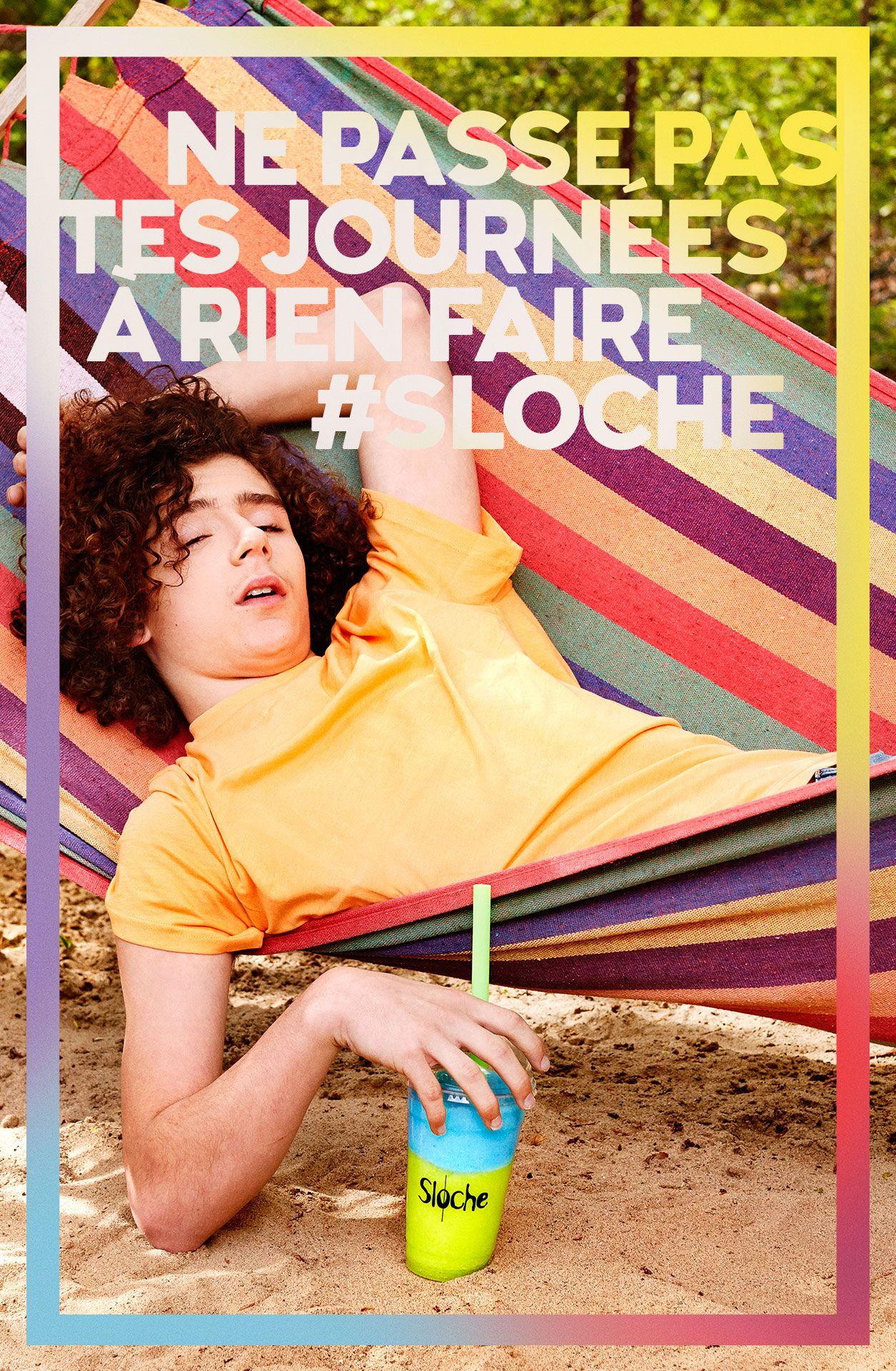teenage boy in a hamoc half-asleep hand on blue and green slurpee by Jocelyn Michel for Sloche Couche Tard with Havas
