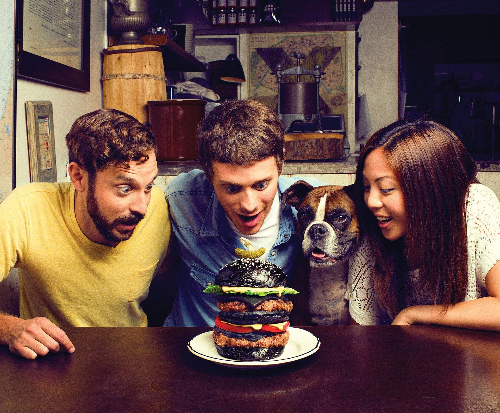 group of friends looking at giant hamburger for Fido campaign by Jocelyn Michel with Dentsubos