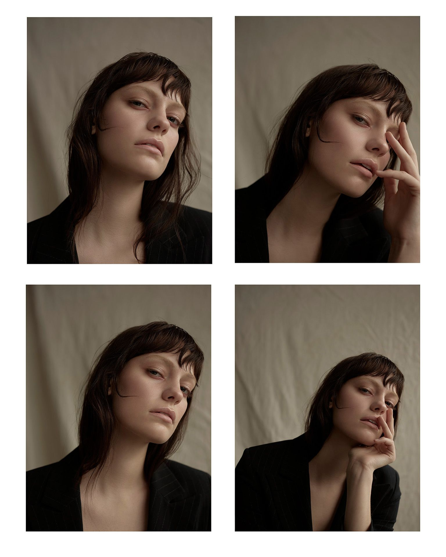 quatuor of close up shots of woman model face wearing black suit jacket looking at camera on beige fabric background by Maxyme G Delisle for Mariane