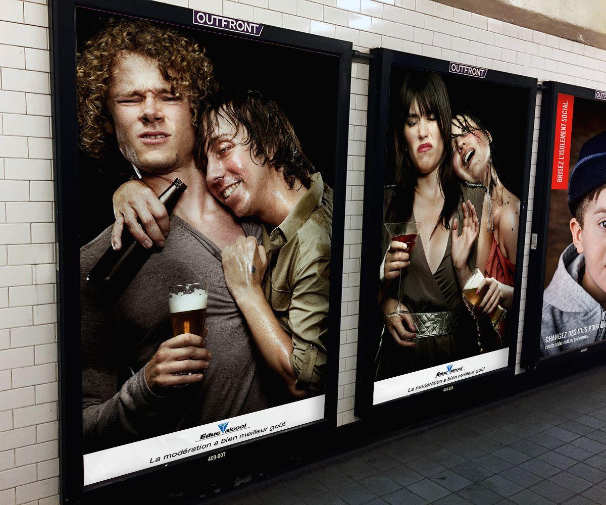 poster in metro of Educalcool campaign by Jocelyn Michel