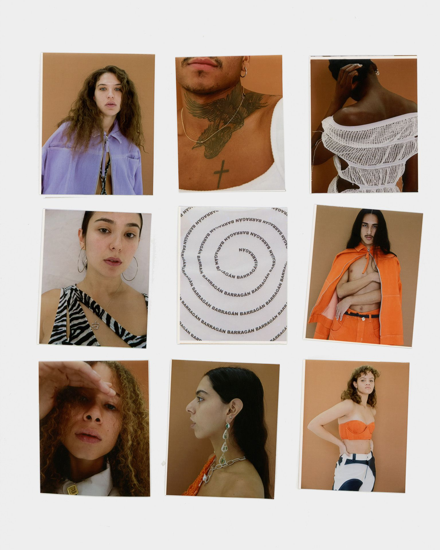 polaroids of models by Oumayma B Tanfous for Barragannnn casting ss 20 for Document Journal