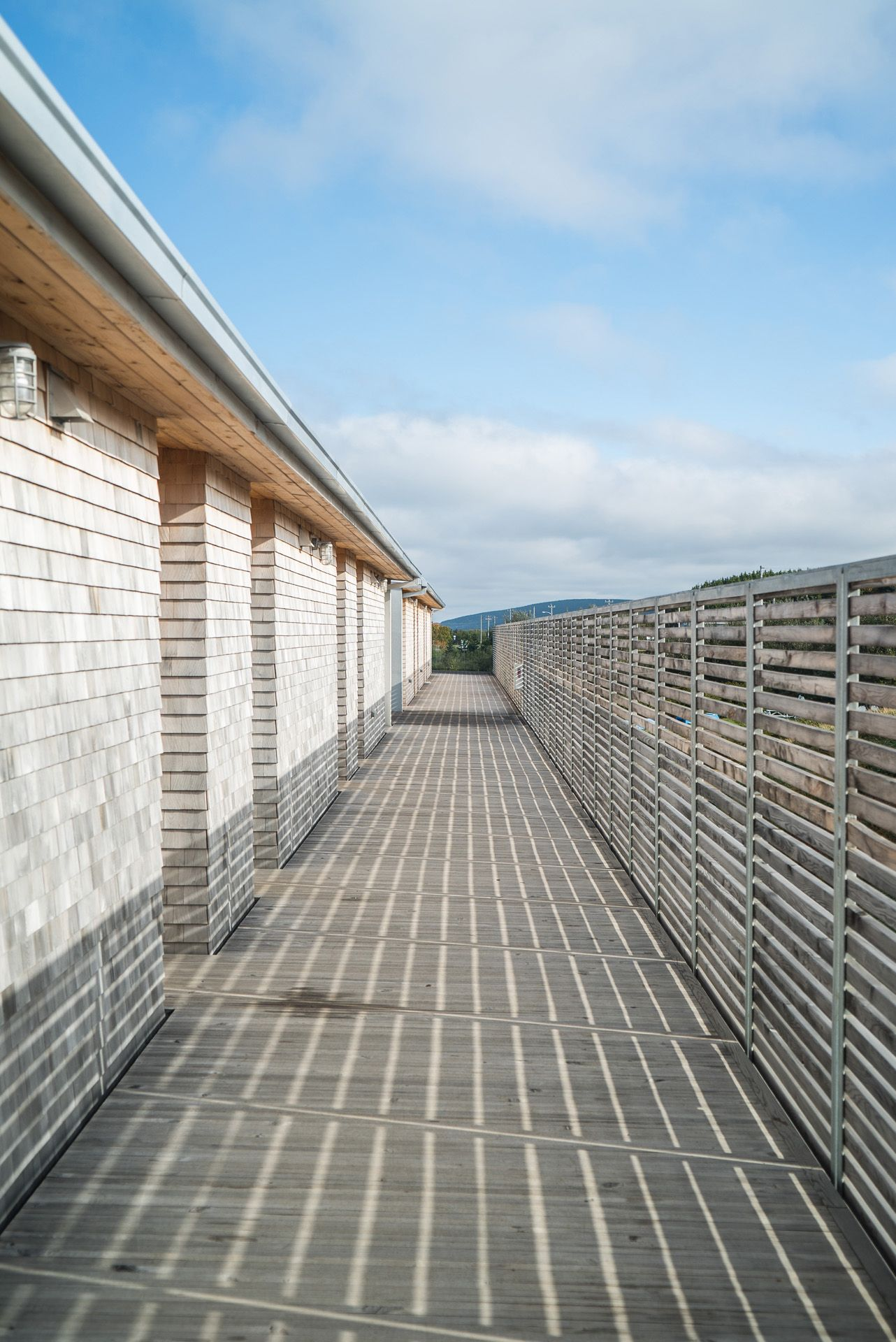 perspective of wooden bungalows by Bruno Florin for Mercedes Magazine