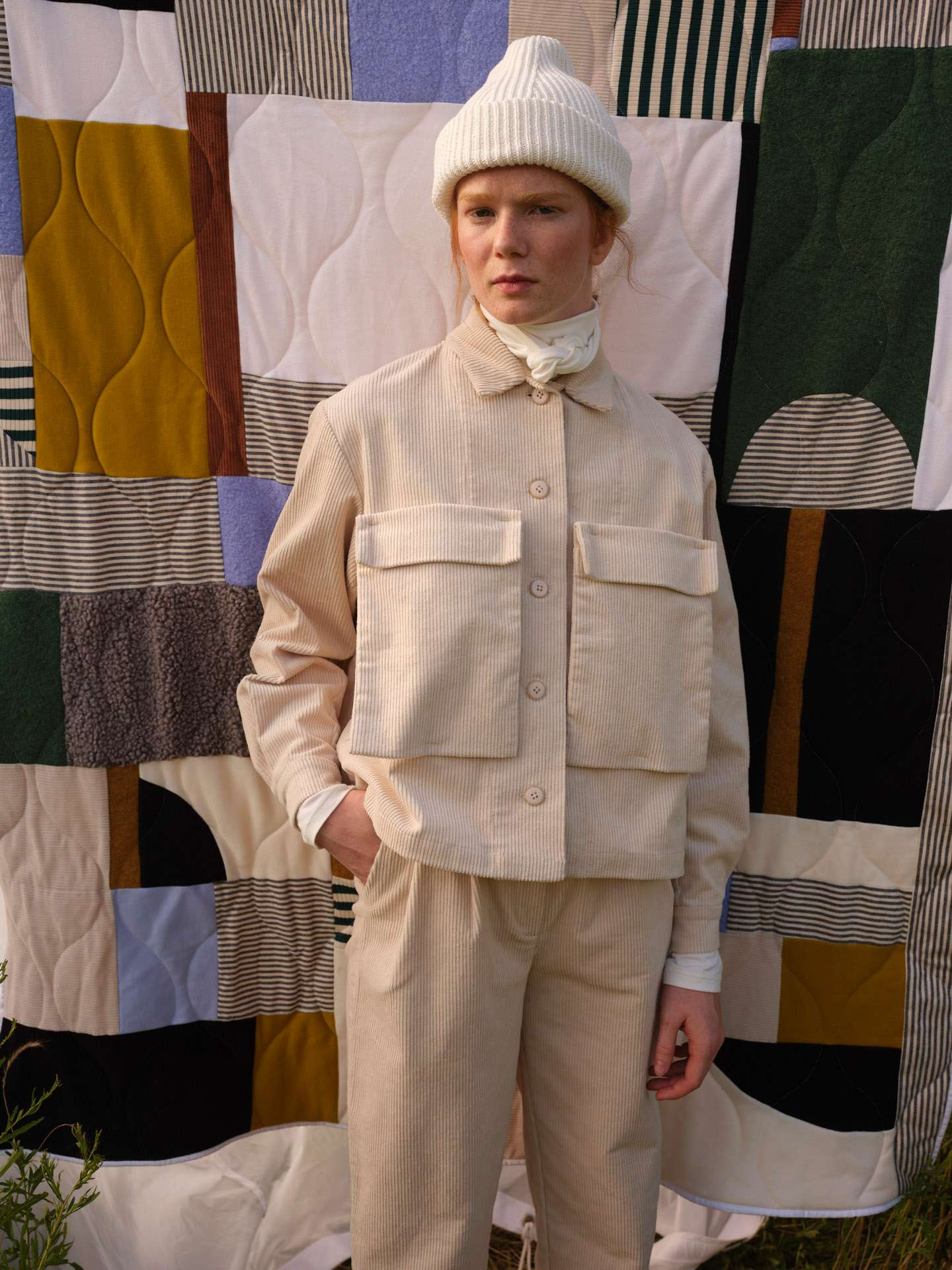 ginger model in field by Maxyme G Delisle for Odeyalo Spring collection