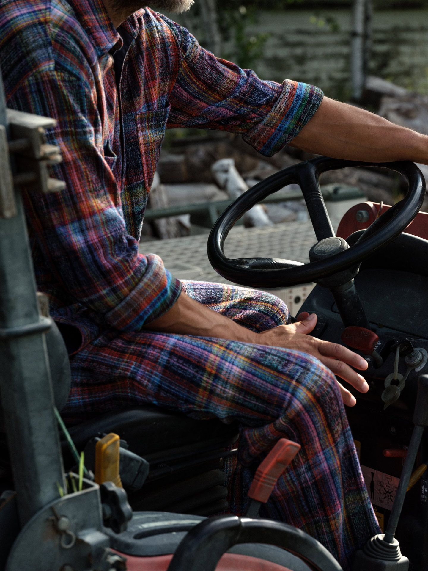 winemaker from Pinard & Filles driving his tractor by Alexi Hobbs for Larose Paris