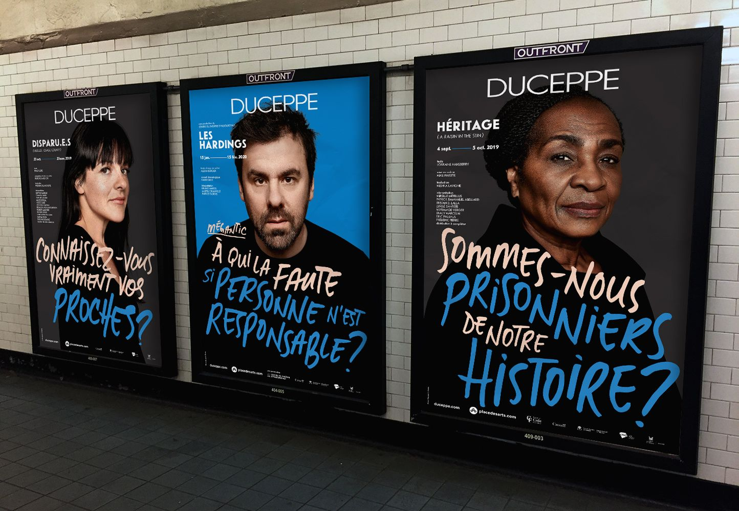 mockup of Duceppe Theatre posters photographs by Maxyme G DElisle