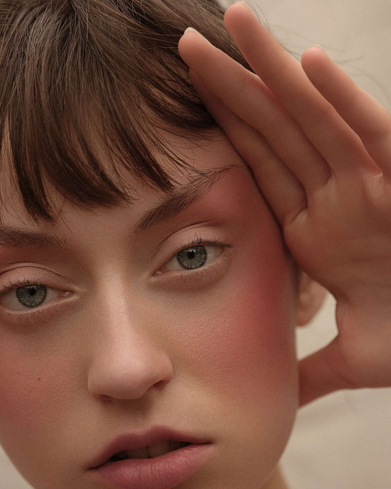 model Delphine with pink cheek by Maxyme G Delisle for Flanelle Magazine