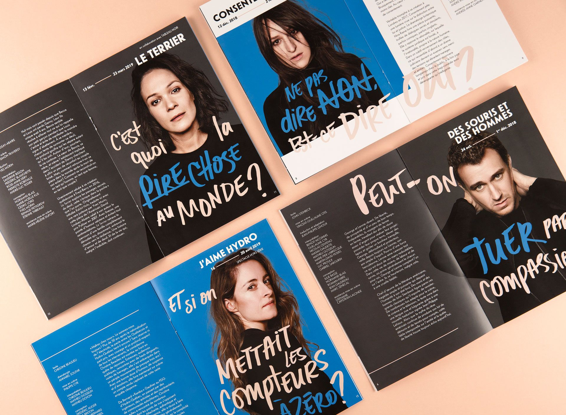 mockup of Duceppe Theatre posters in magazine photographs by Maxyme G DElisle