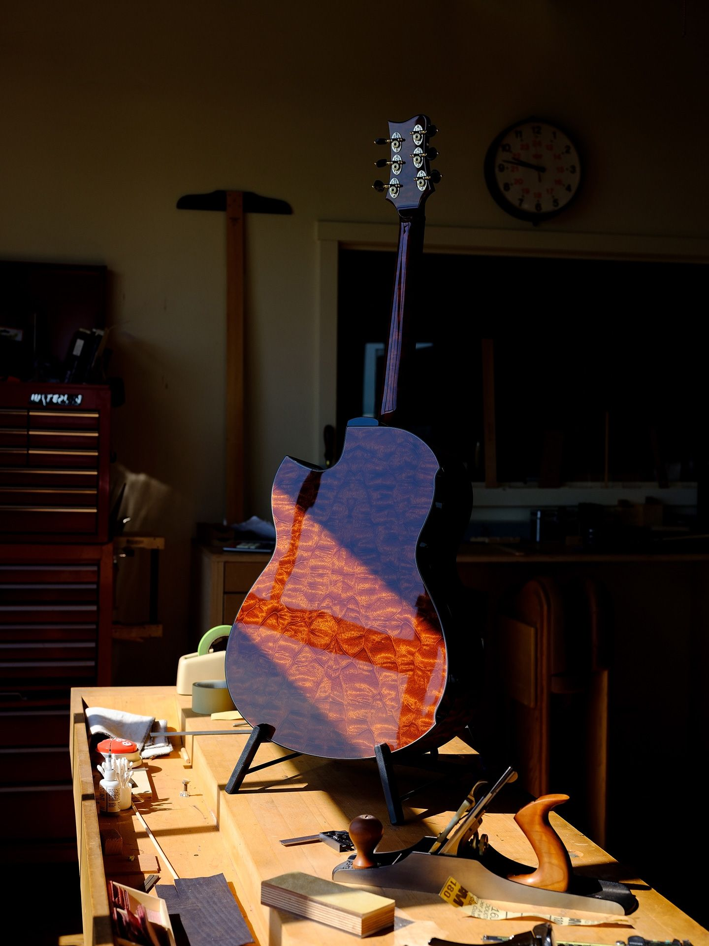 freshly varnished guitar back propped up in the sun by Guillaume Simoneau for Mercedes Benz Magazine