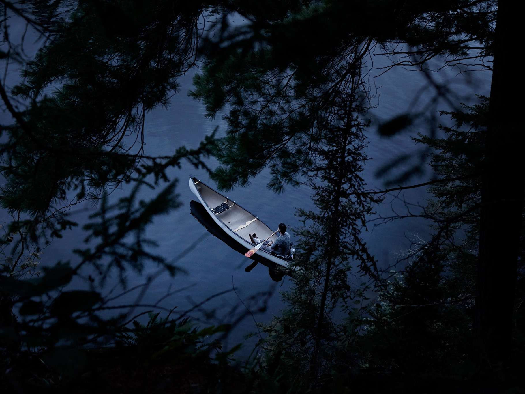 topview from between tree branches of man alone in his canoe on calm water resting and observing his surroundings by Guillaume Simoneau in Abitibi