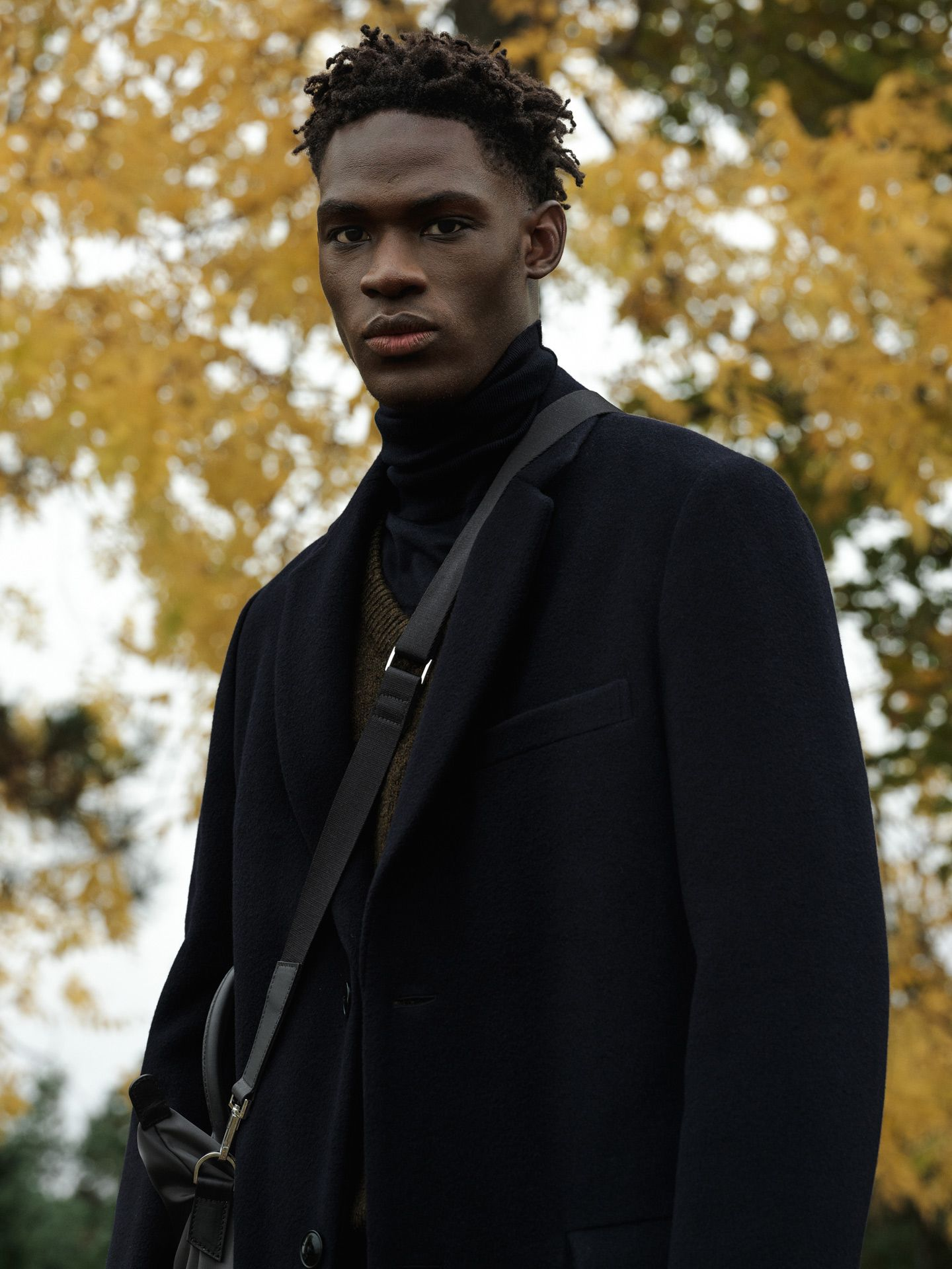 black male model wearing all black photographed by Alexi Hobbs for Want Les Essentiels pre-Autumn Winter 2019 collection