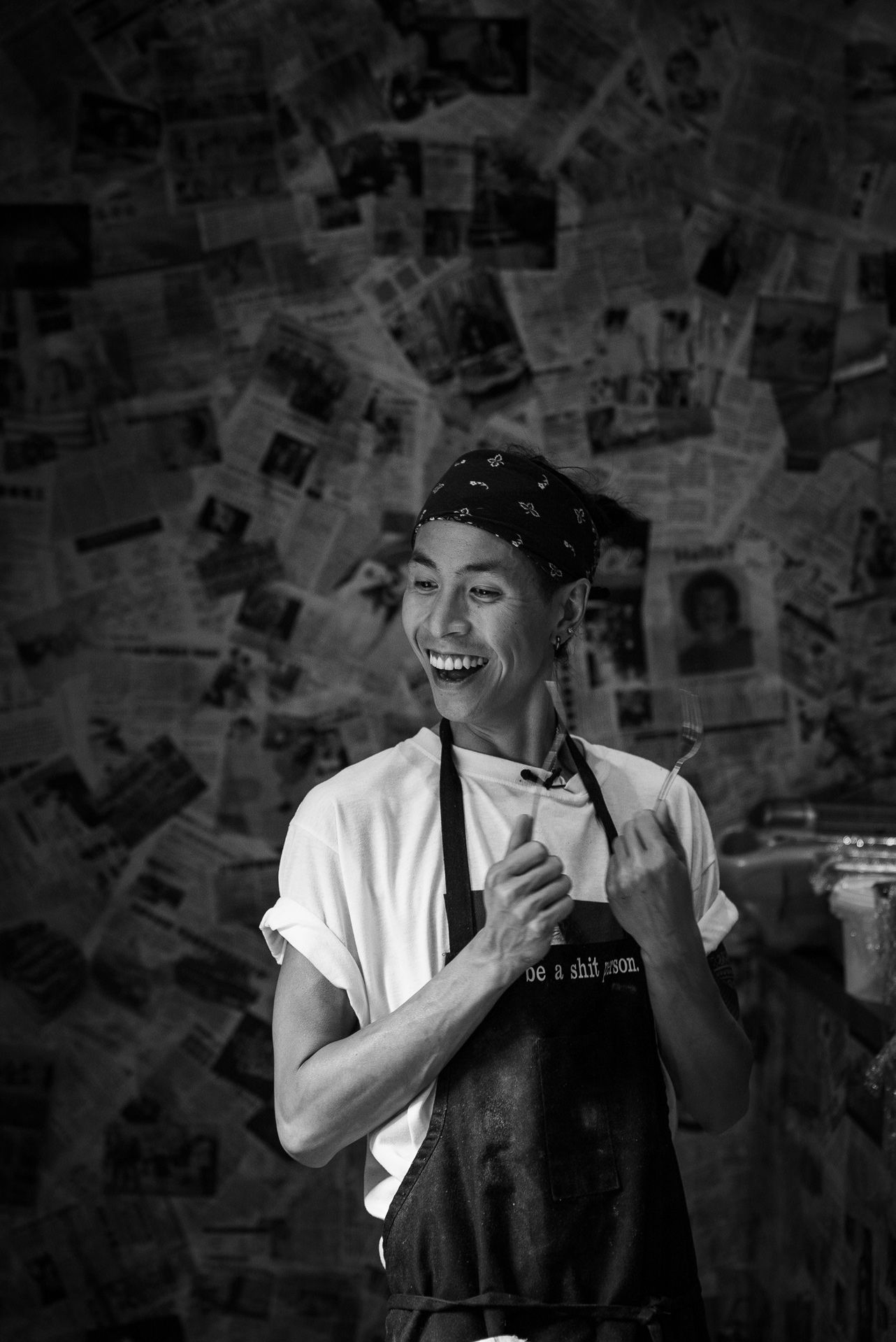 portrait of chef Minh Phat Tu of Orange rouge smiling by Bruno Florin