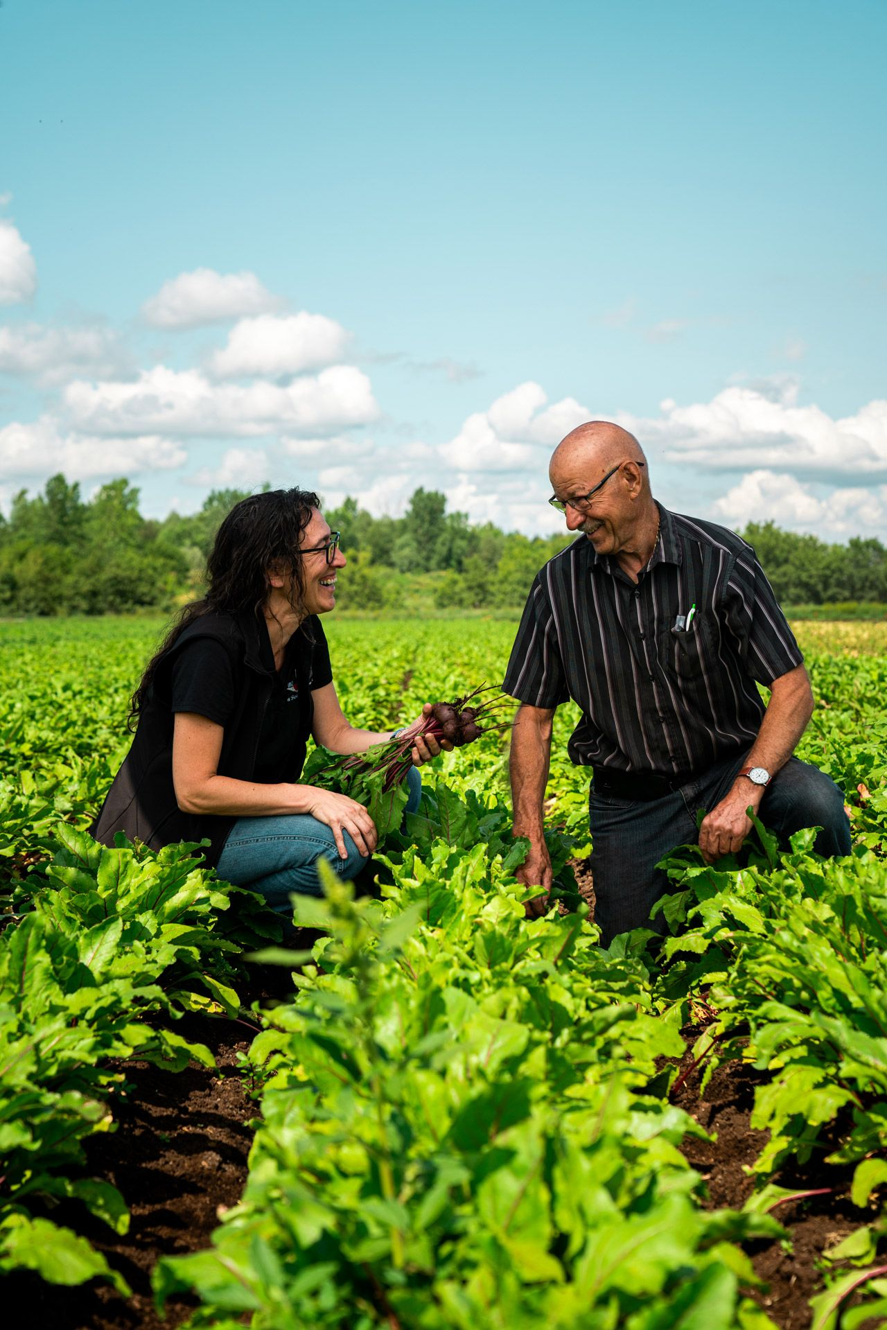 a woman and a man in a field of beets crouching on the ground laughing together by Bruno Florin for Sollio Agriculture