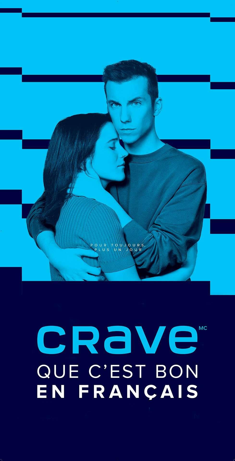 mockup of landscape ad for CRAVE original show Pour Toujours Plus Un Jour shot by Jocelyn Michel on billboard