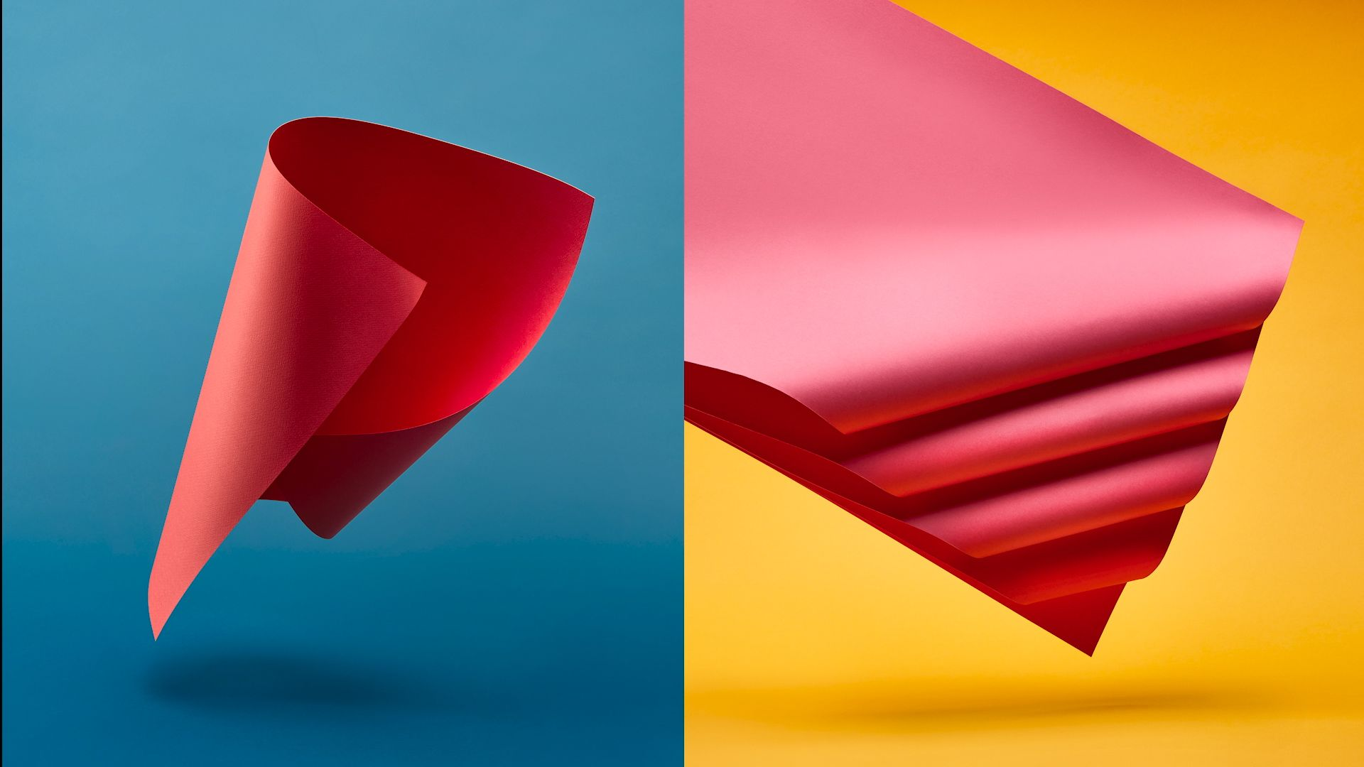 sheets of red paper curled floating in the air for enRoute Magazine by Mathieu Levesque