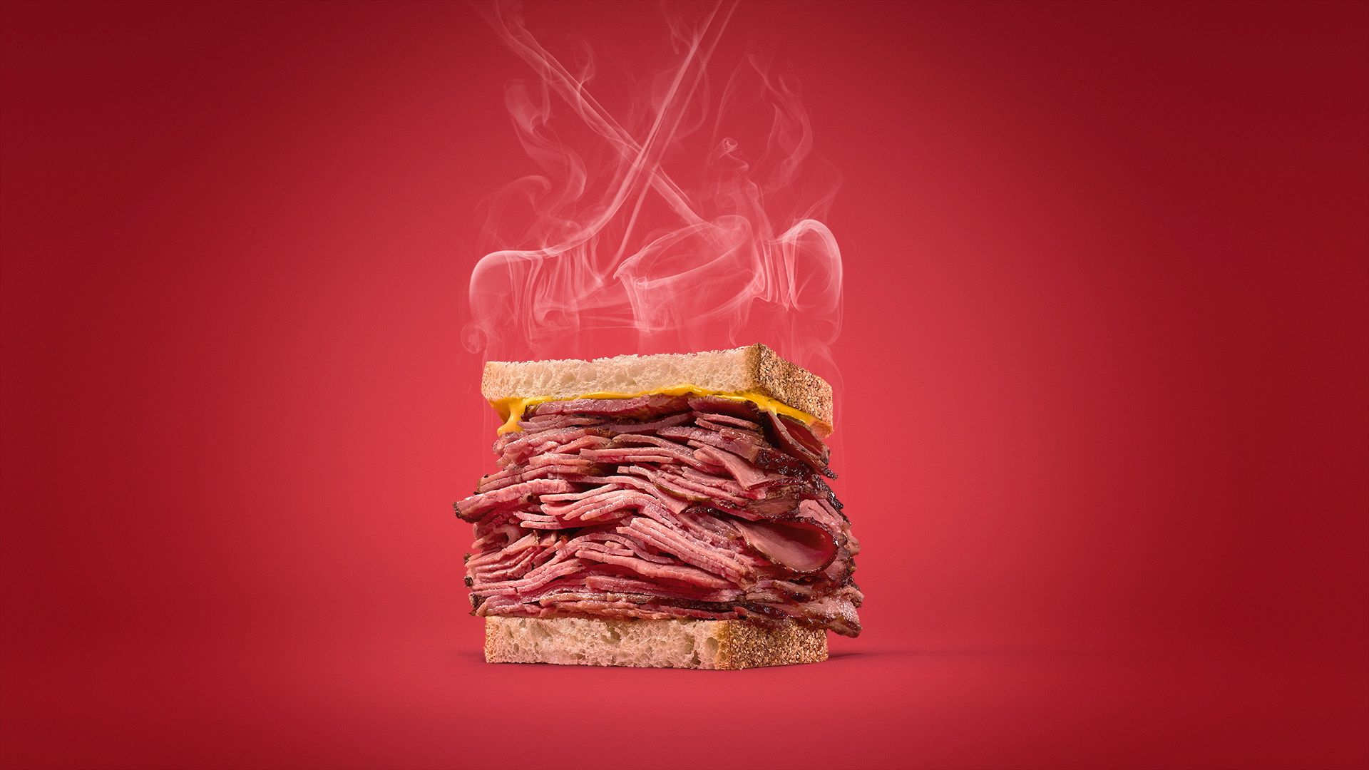 huge sandwich of smoked meat with steam in the form of hockey sticks coming out of it by Mathieu Levesque