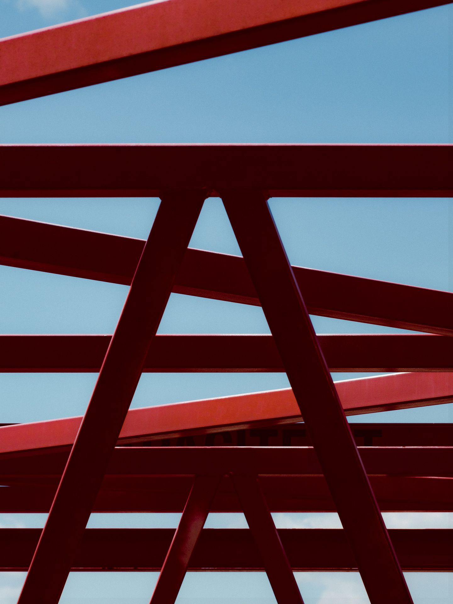 geometric architecture of red steel by Alexi Hobbs for Port of Montreal with Ogilvy