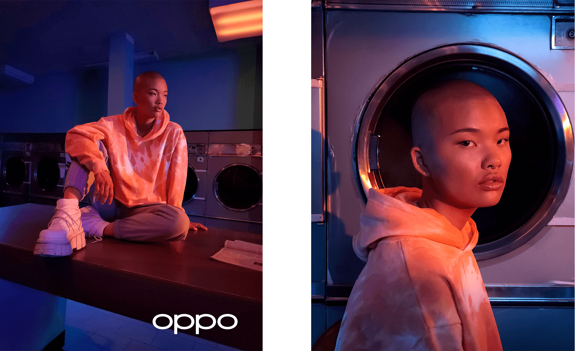 asian model in colored pink and blue lighting looking up for Oppo campaign in a lavomat Hungry and Foolish filmed and photographed by Simon Duhamel
