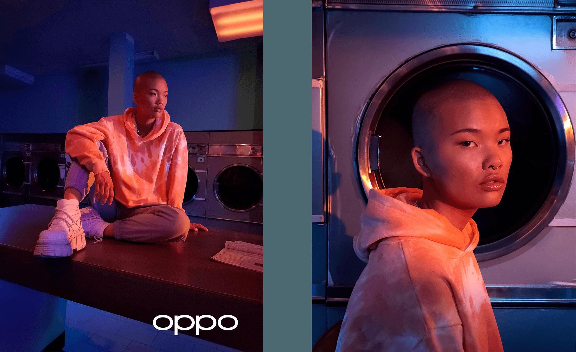model asiatique feminin dans une laverie photo prise par un oppo reno4 pour la campagne hungry & foolish par simon duhamel