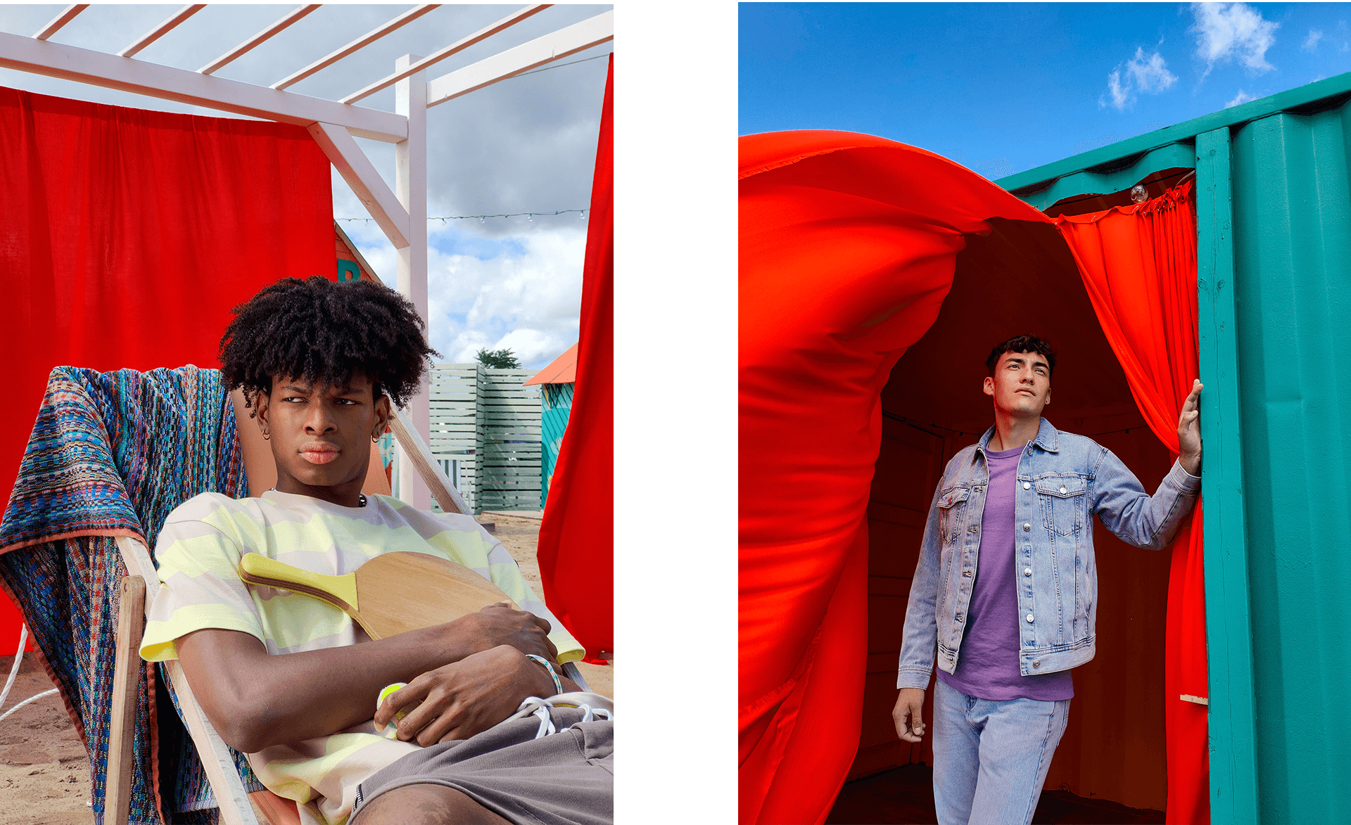 black male model sitting on a beach chair picture taken by oppo reno4 for hungry and foolish campaign by simon duhamel