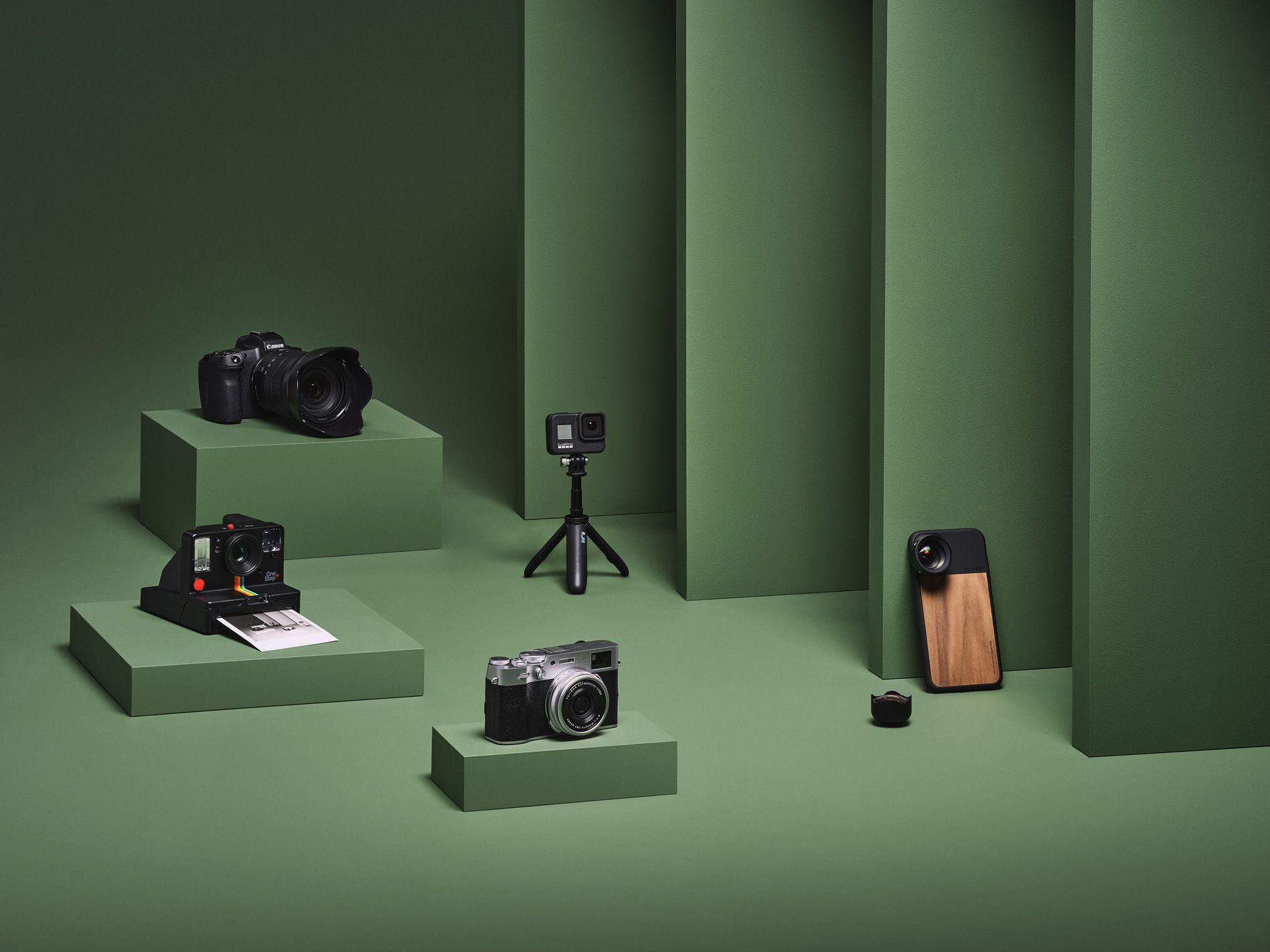 green background with different levels and many modern camera by Mathieu Levesque for enRoute