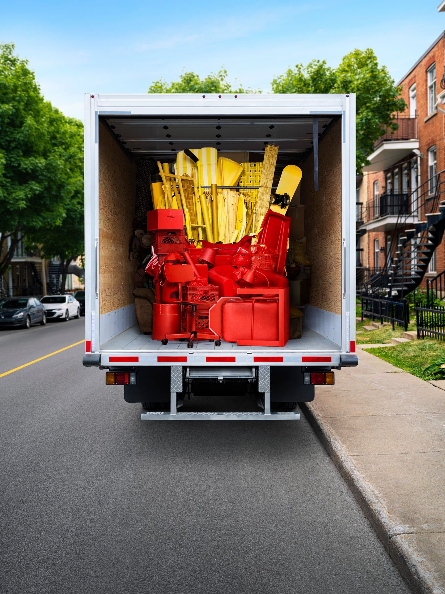 Bunch of fries made out of furniture in a moving truck for McDonald's by Simon Duhamel