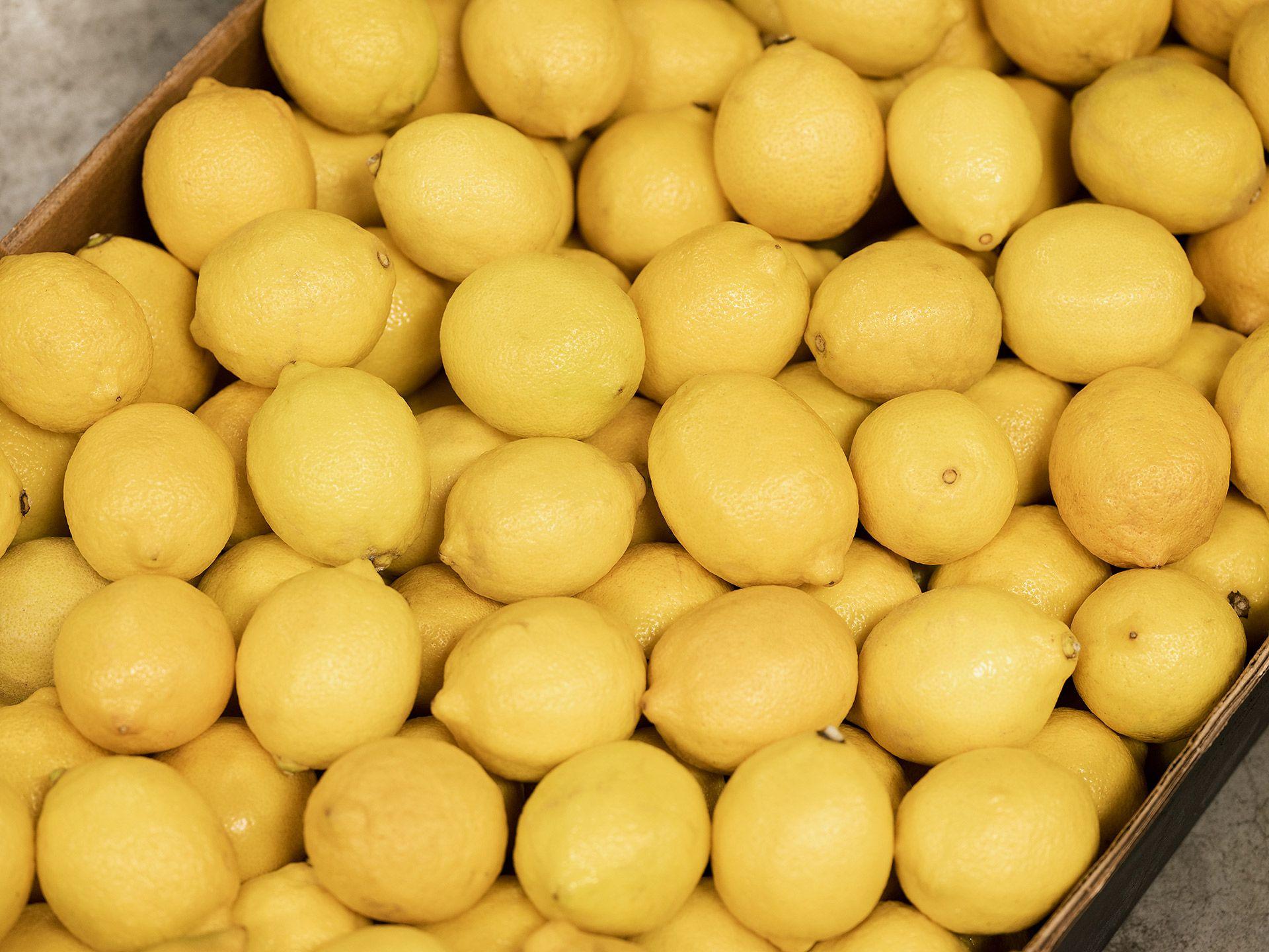 Gros plan d'une grosse quantité de citrons dans une grande boîte.