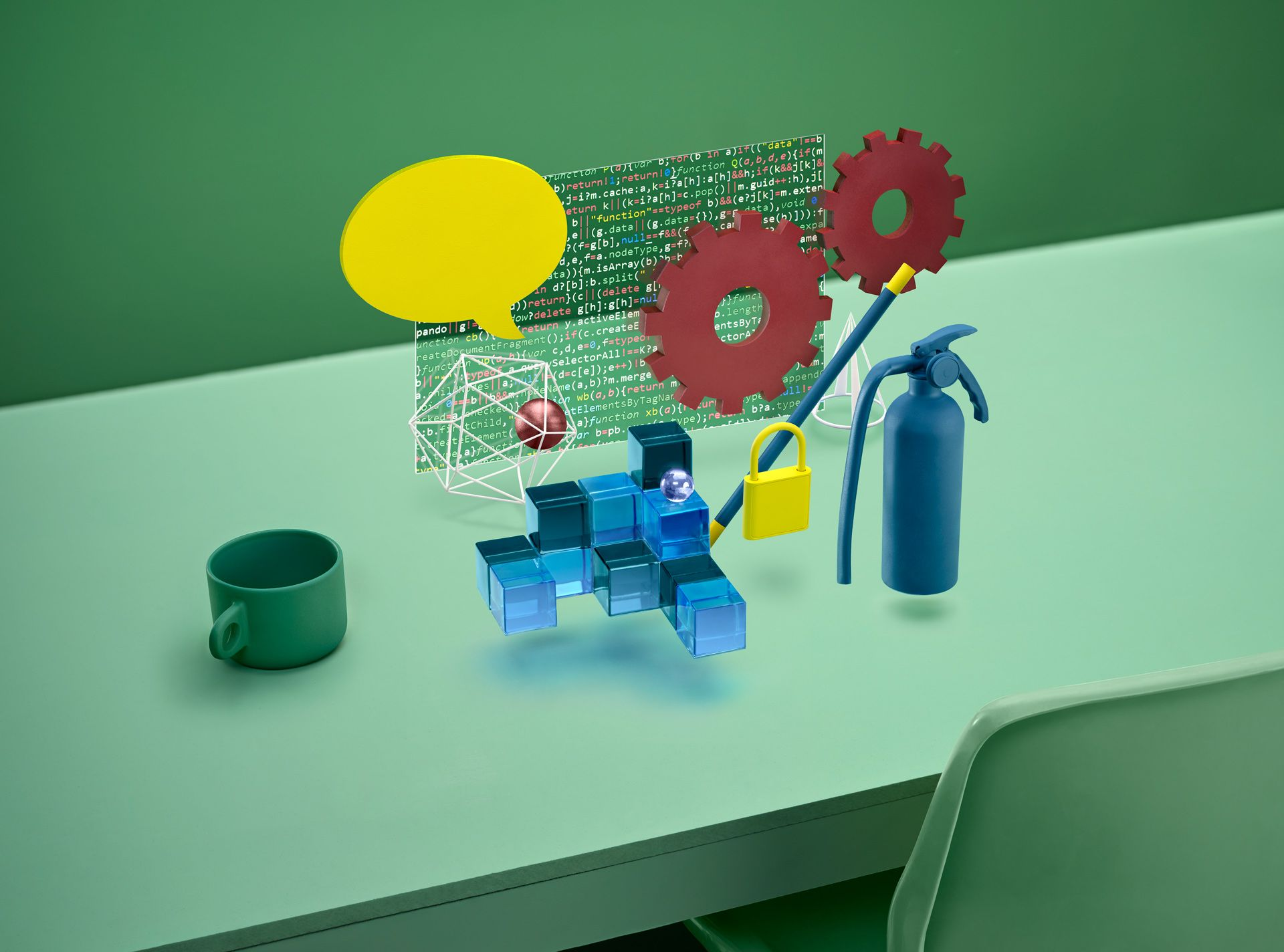 animation on green background about development and data entry by Mathieu Lévesque and Pascal Brousseau for GSoft