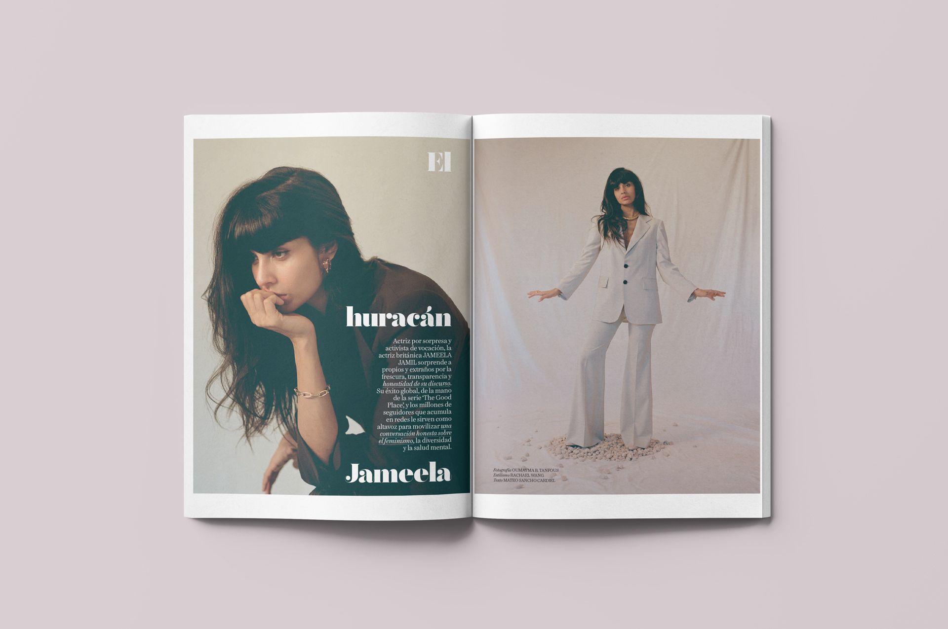 mockup de la mise en page de l'article de Vogue Espagne concernant Jameela Jamil par Lisa Doré
