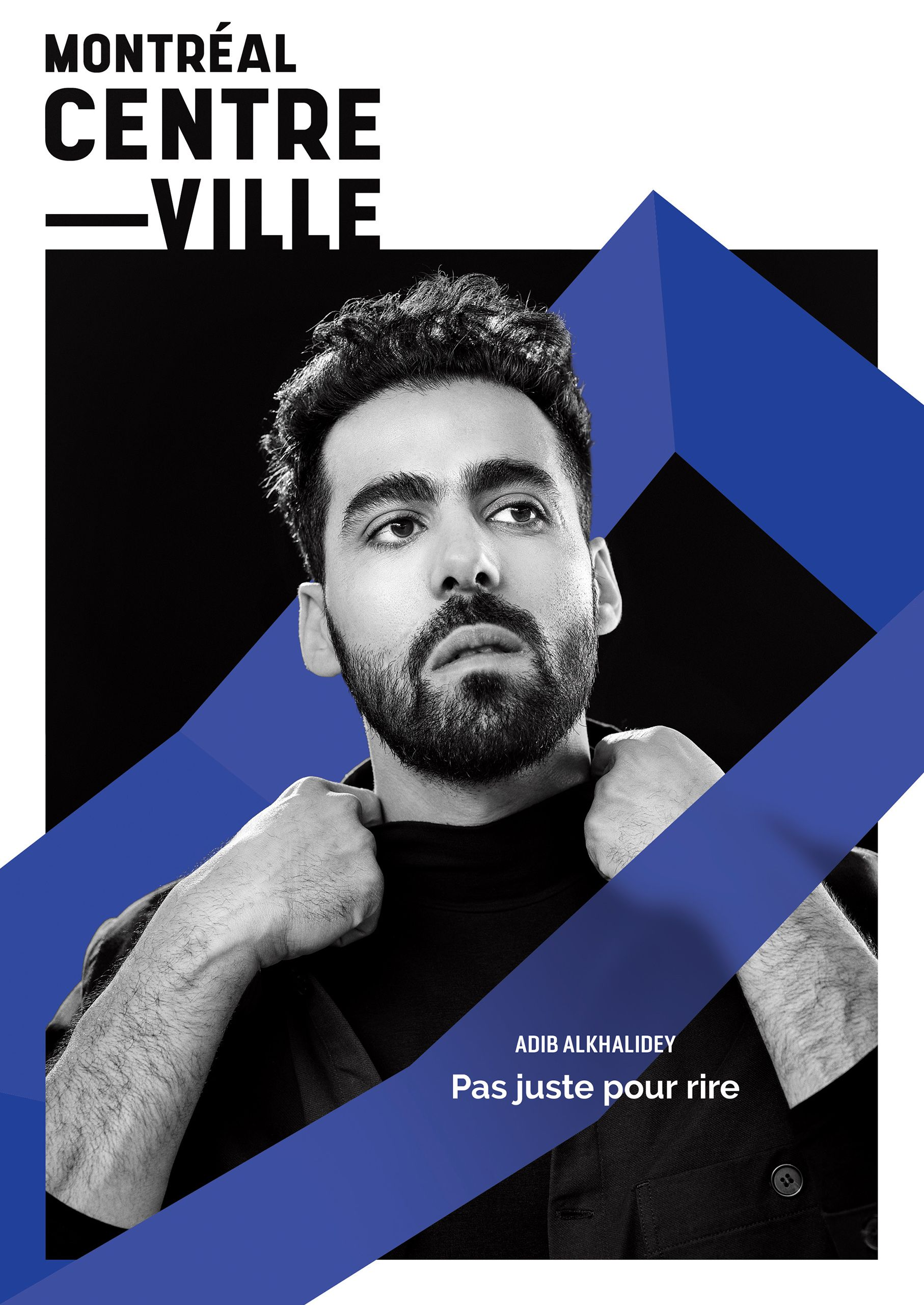 Black and white portrait of Adib Alkhalidey for Downtown Montreal magazine with graphic design of a blue line and titles.