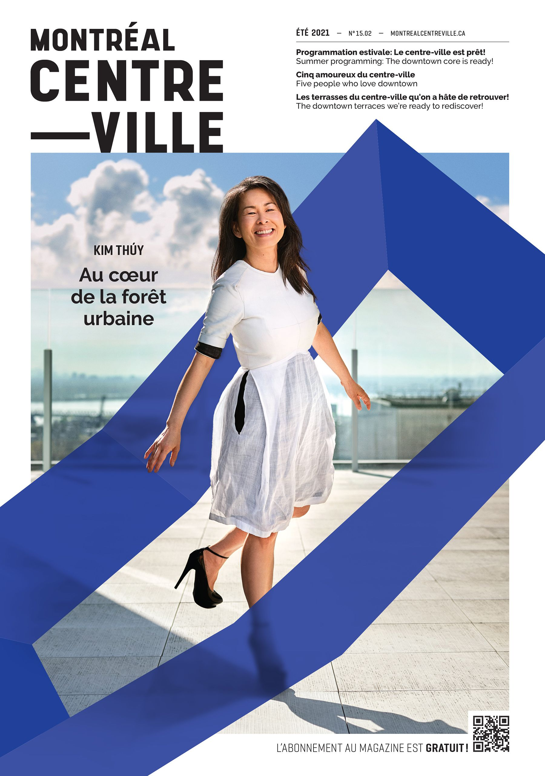 Coverpage of Downtown Montreal magazine with Kim Thuy jumping in a white dress with black stiletto heels on a rooftop in the daytime.