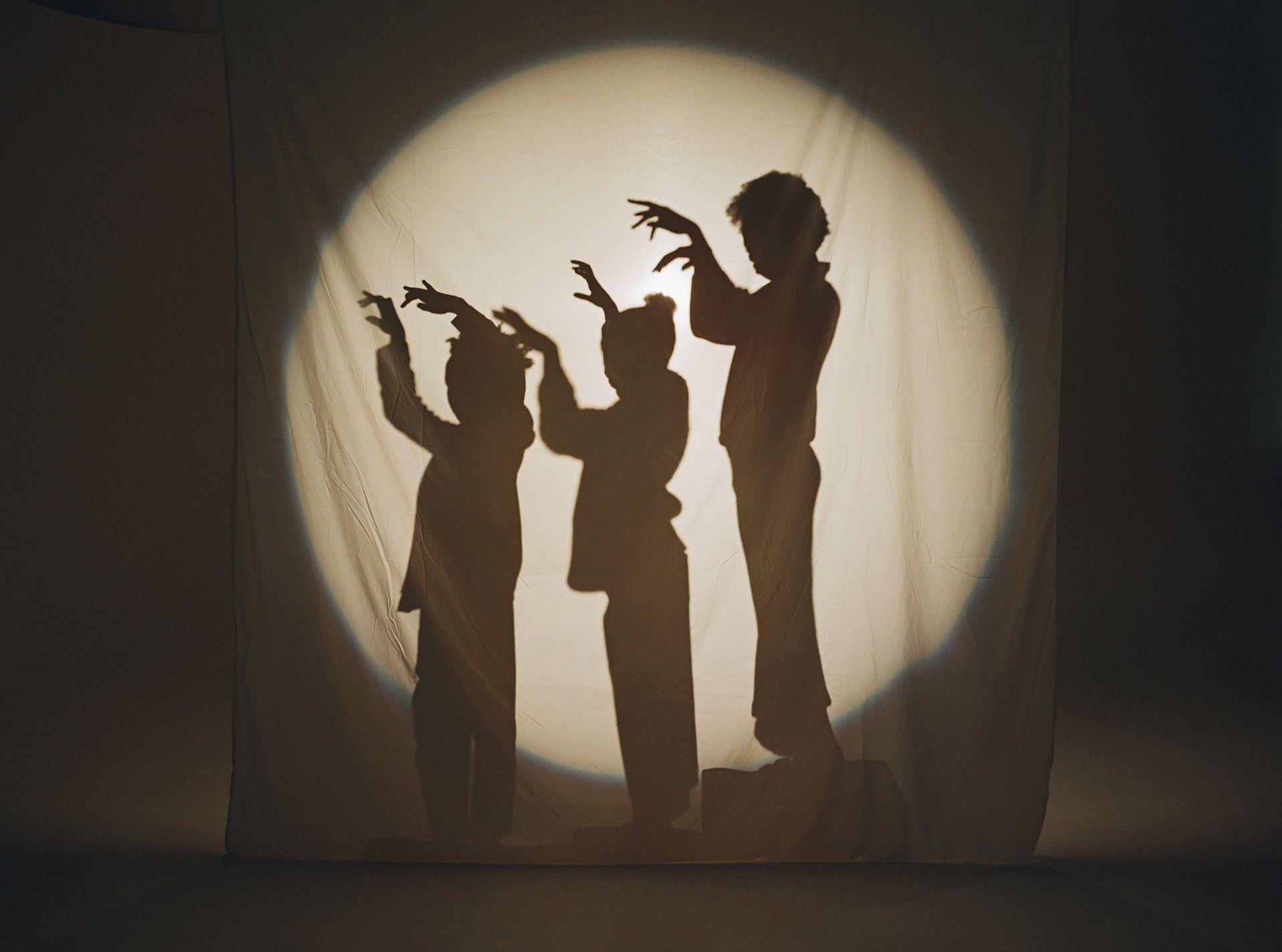 Des enfants qui font des spectacles d'ombres avec leurs mains. Nous ne voyons que leur ombre dans un cercle de lumière derrière un tissu blanc suspendu.