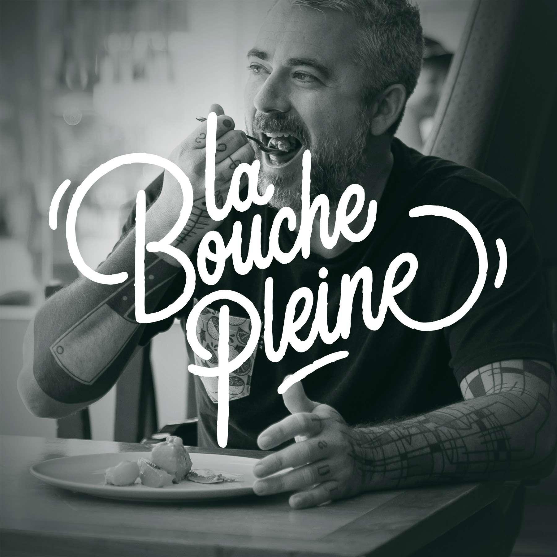 logo du podcast la bouche pleine par Bruno Florin
