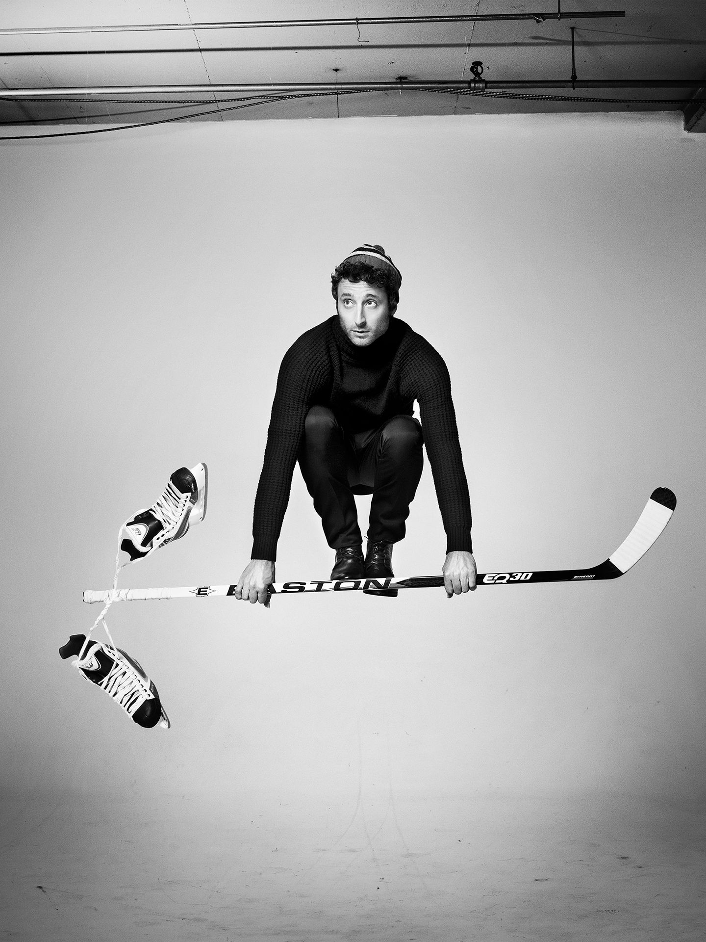 Louis-Jean Cormier photographed jumping in the air by Jocelyn Michel for JUMP personal series