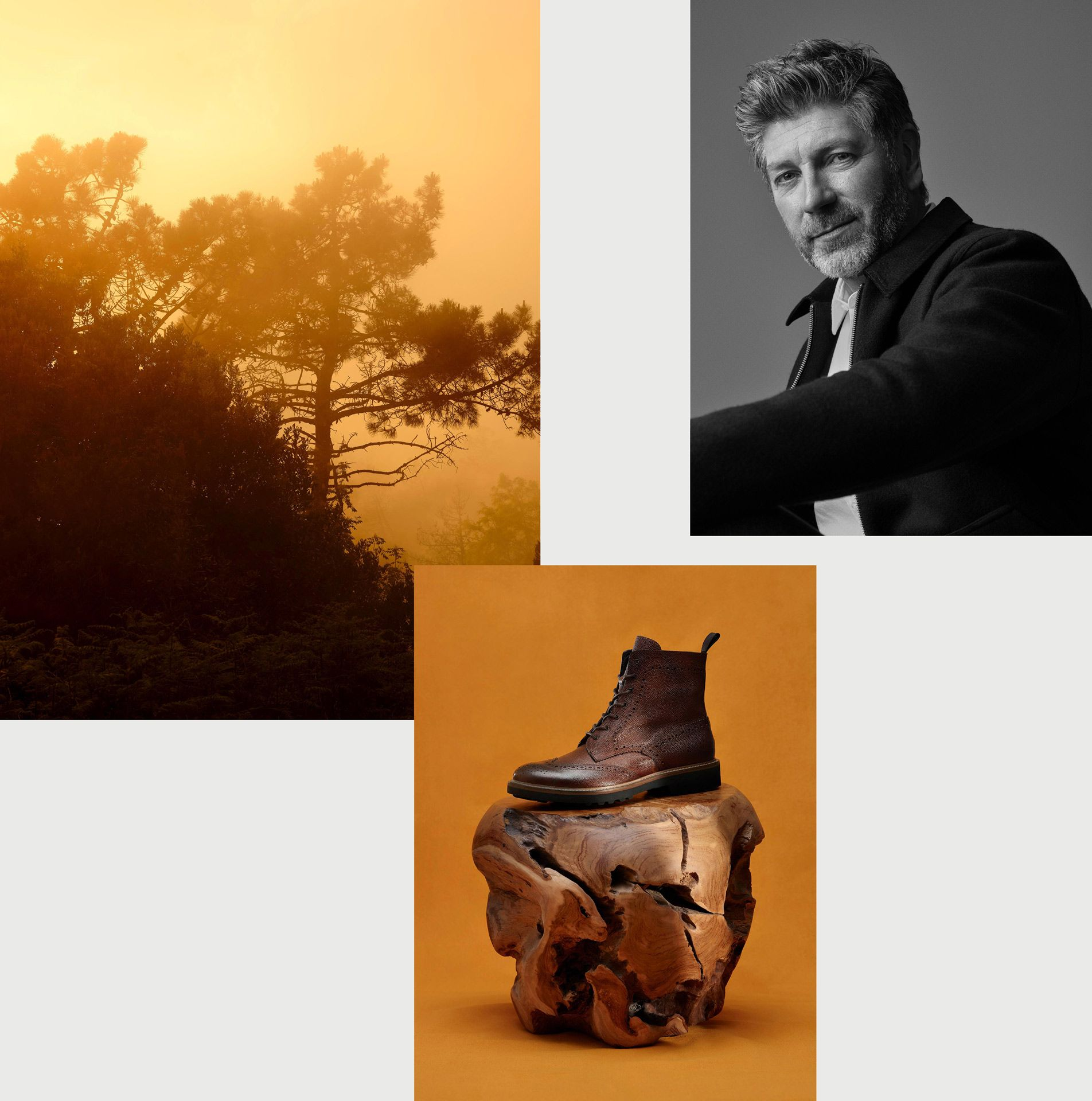 montage of middle aged male model smiling with sunset over trees and picture of brown textured leather boot on chunk of polished wood on yellow-orange background all by Maxyme G Delisle with artistic direction from Studio TB for Jean-Paul Fortin Fall collection