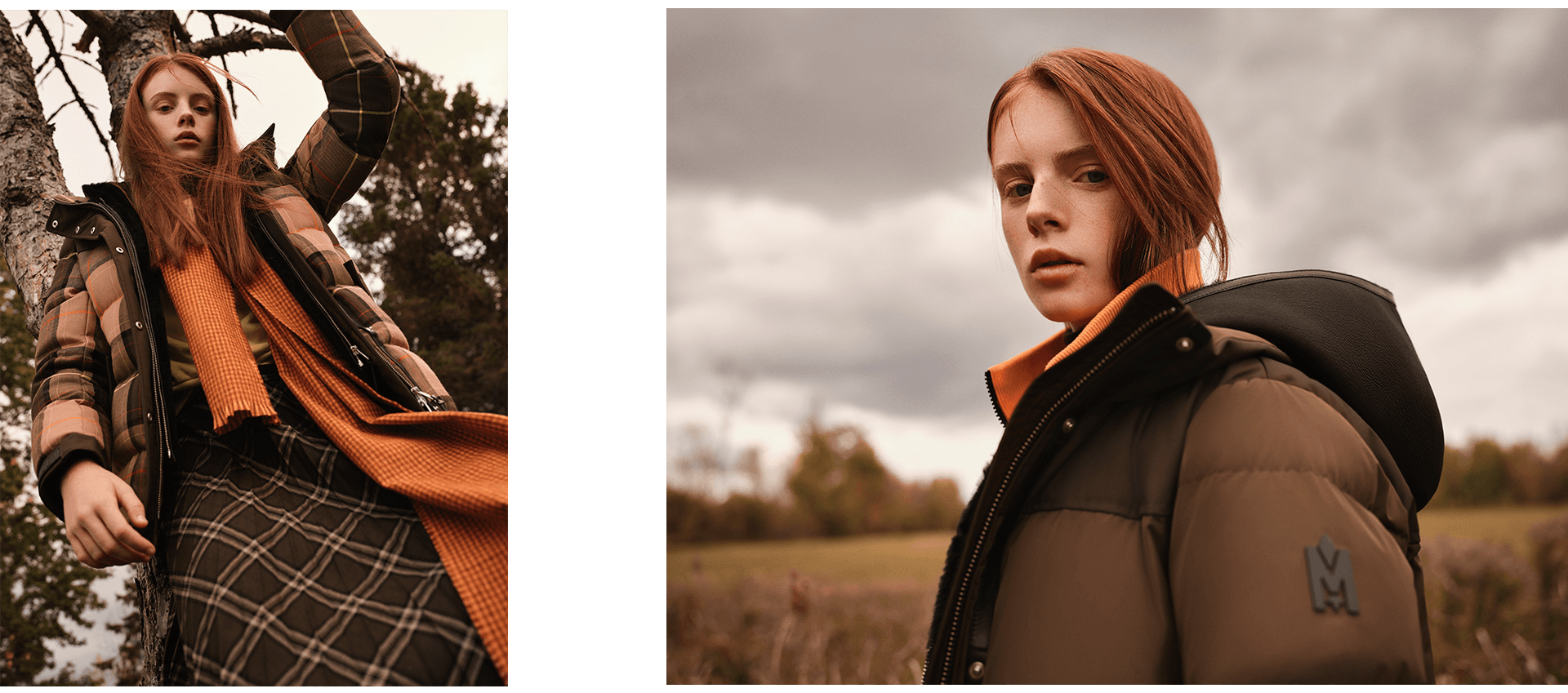 red head model wearing khaki winter coat in dry field looking at camera photographed by Maxyme G Delisle for Mackage