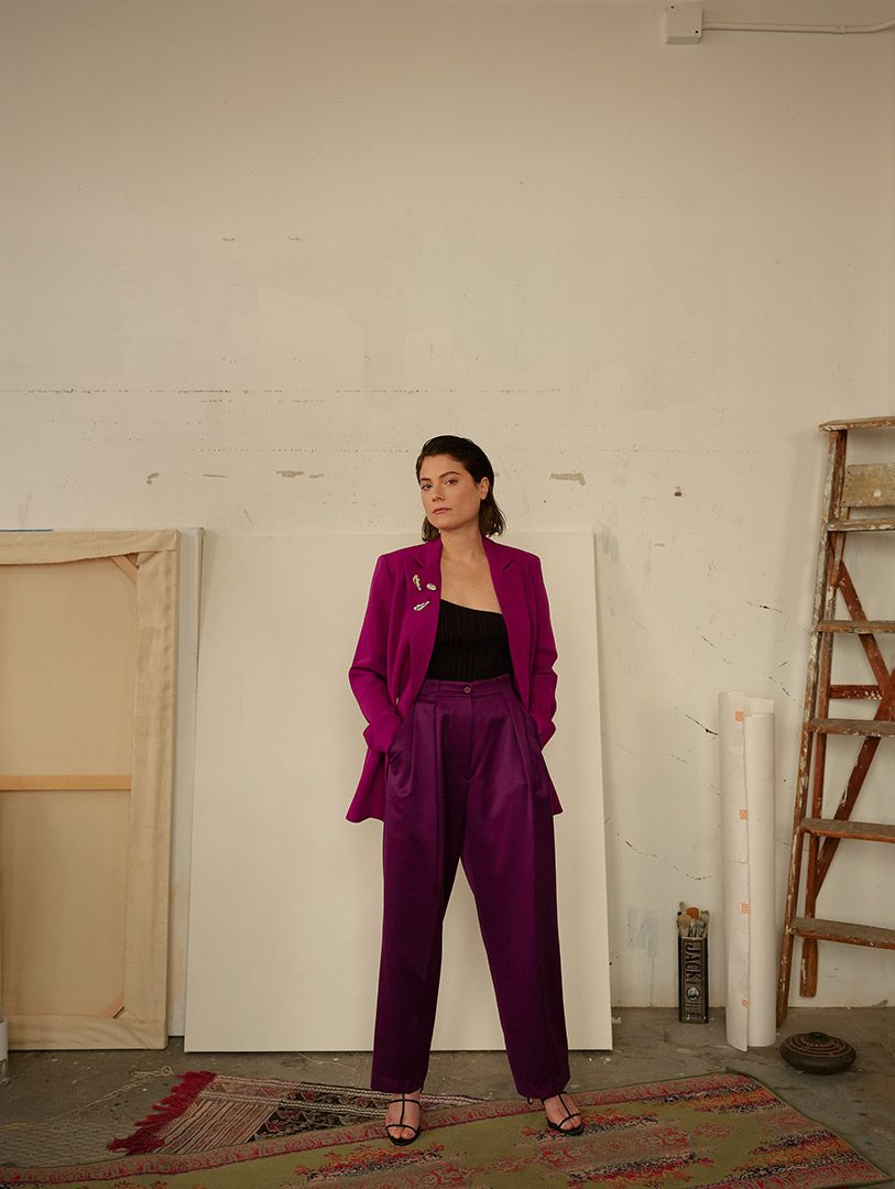 model wearing brooches from Nina.Nanas' 2019 Dada Collection by Maxyme G. Delisle